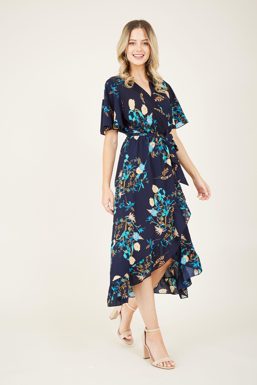 Floral Printed Midi Wrap Dress