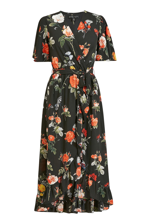 Mela Floral Printed Midi Wrap Dress