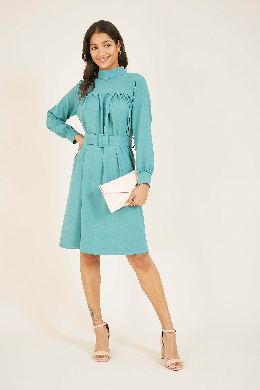 Mela High Neck Belted Tea Dress With Long Sleevees