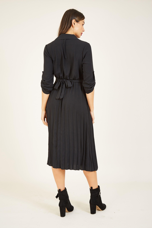 Mela London Pleated Skirt Midi Shirt Dress