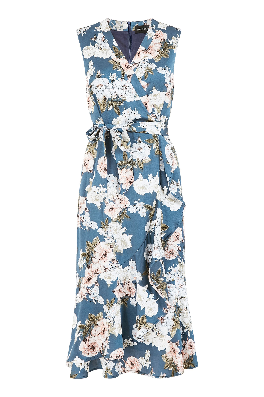 Mela Floral Satin Wrap Effect Midi Dress