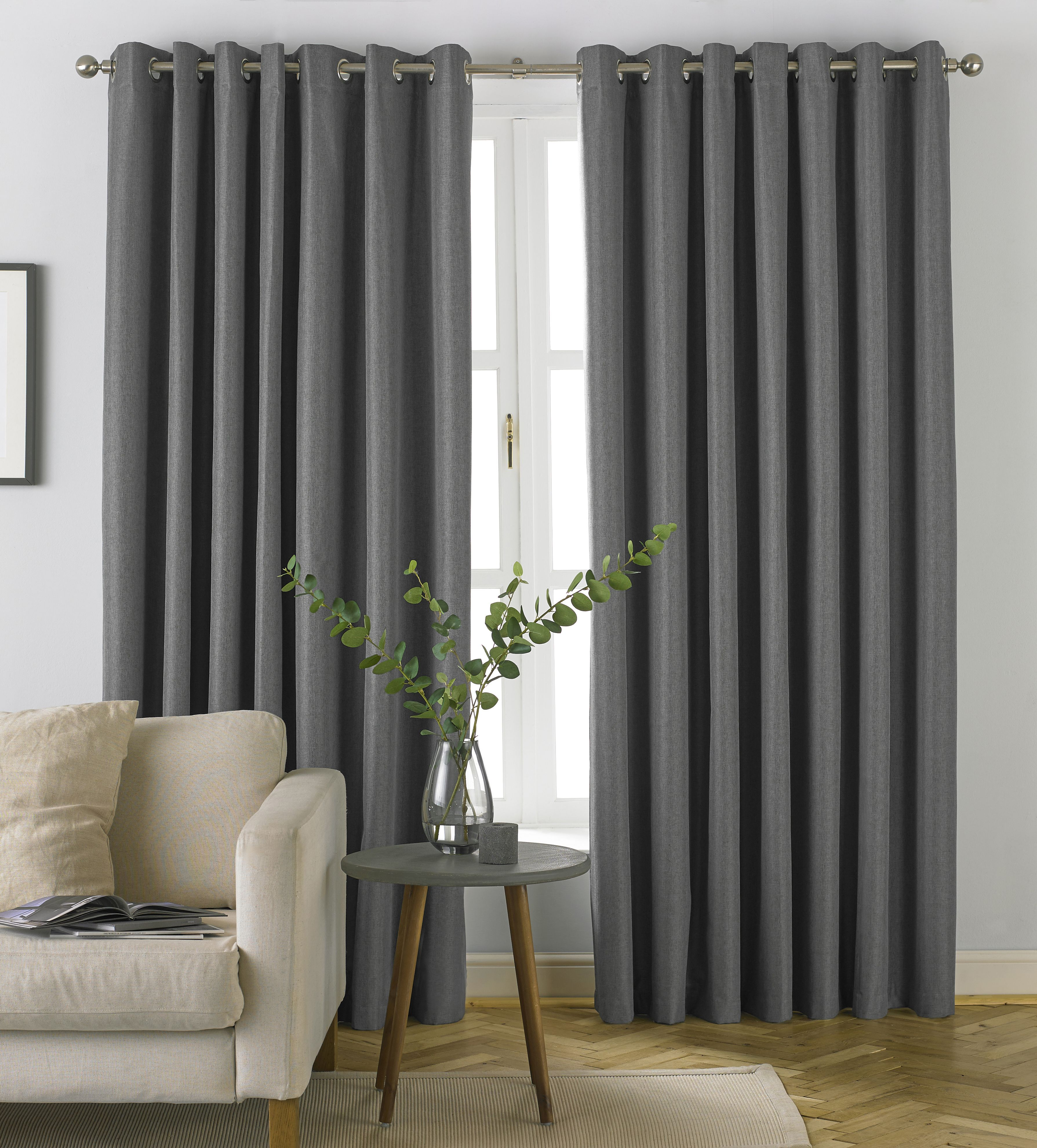 Moon Herringbone Blackout Eyelet Curtains in Grey