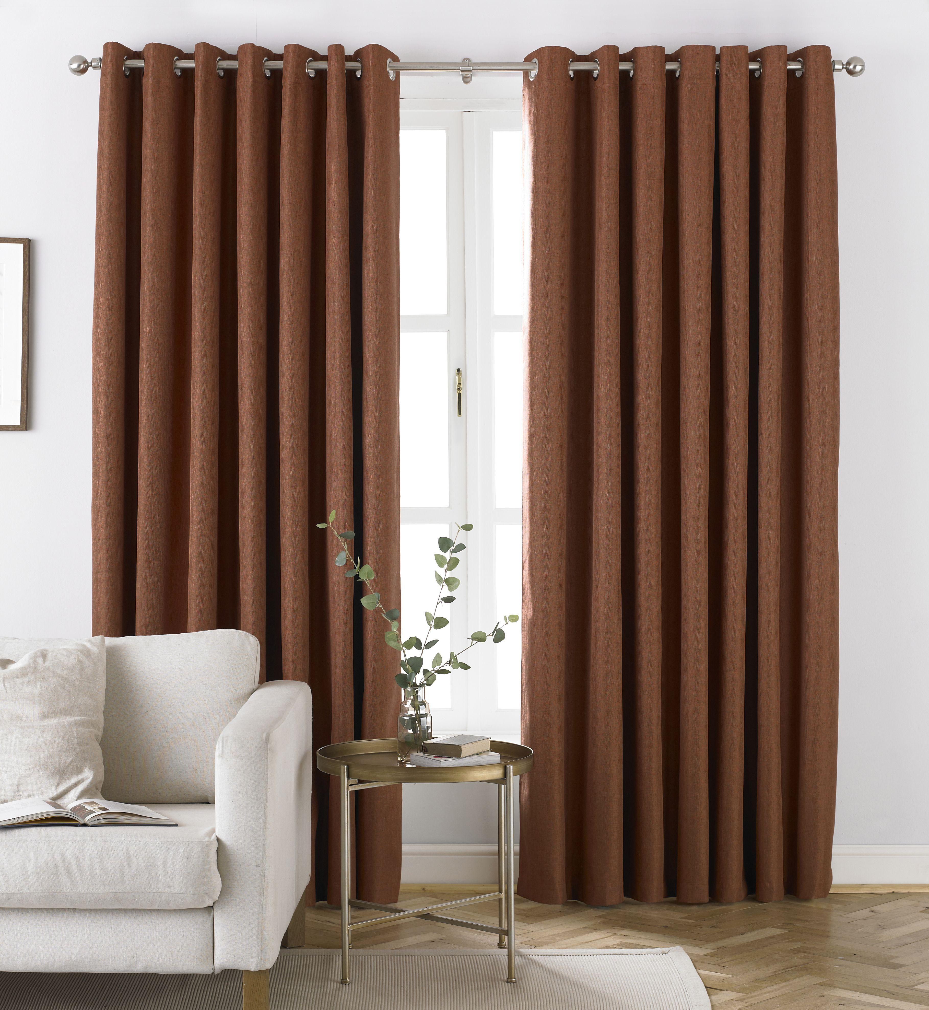 Moon Herringbone Blackout Eyelet Curtains in Burnt Orange