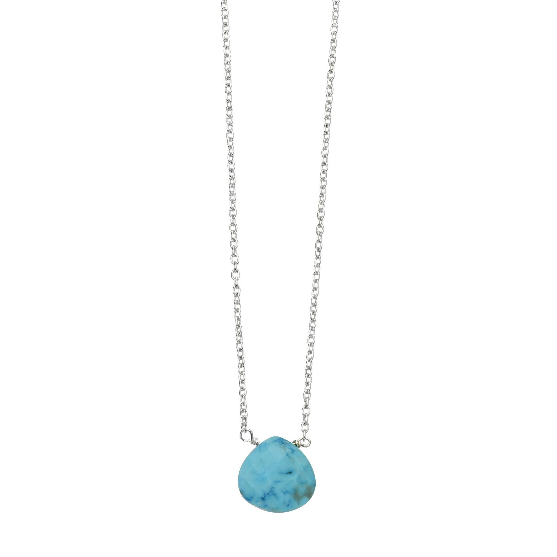 Beginnings 925 Sterling Silver Faceted Semi Precious Blue Magnesite Stone Teardrop Charm Necklace 41-46cm