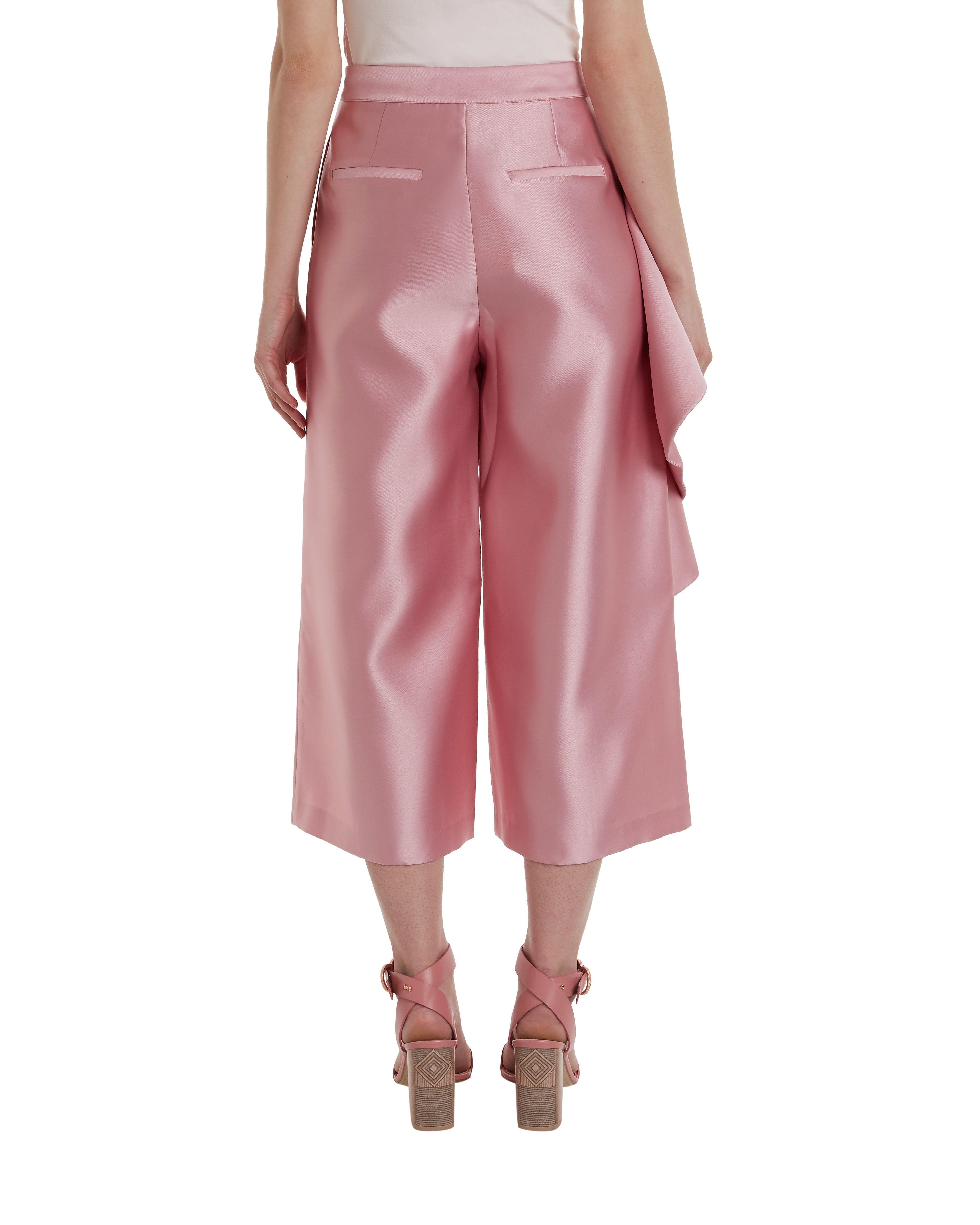 Ted Baker Nannina Wide Leg Ruffle Trousers in Dusky Pink