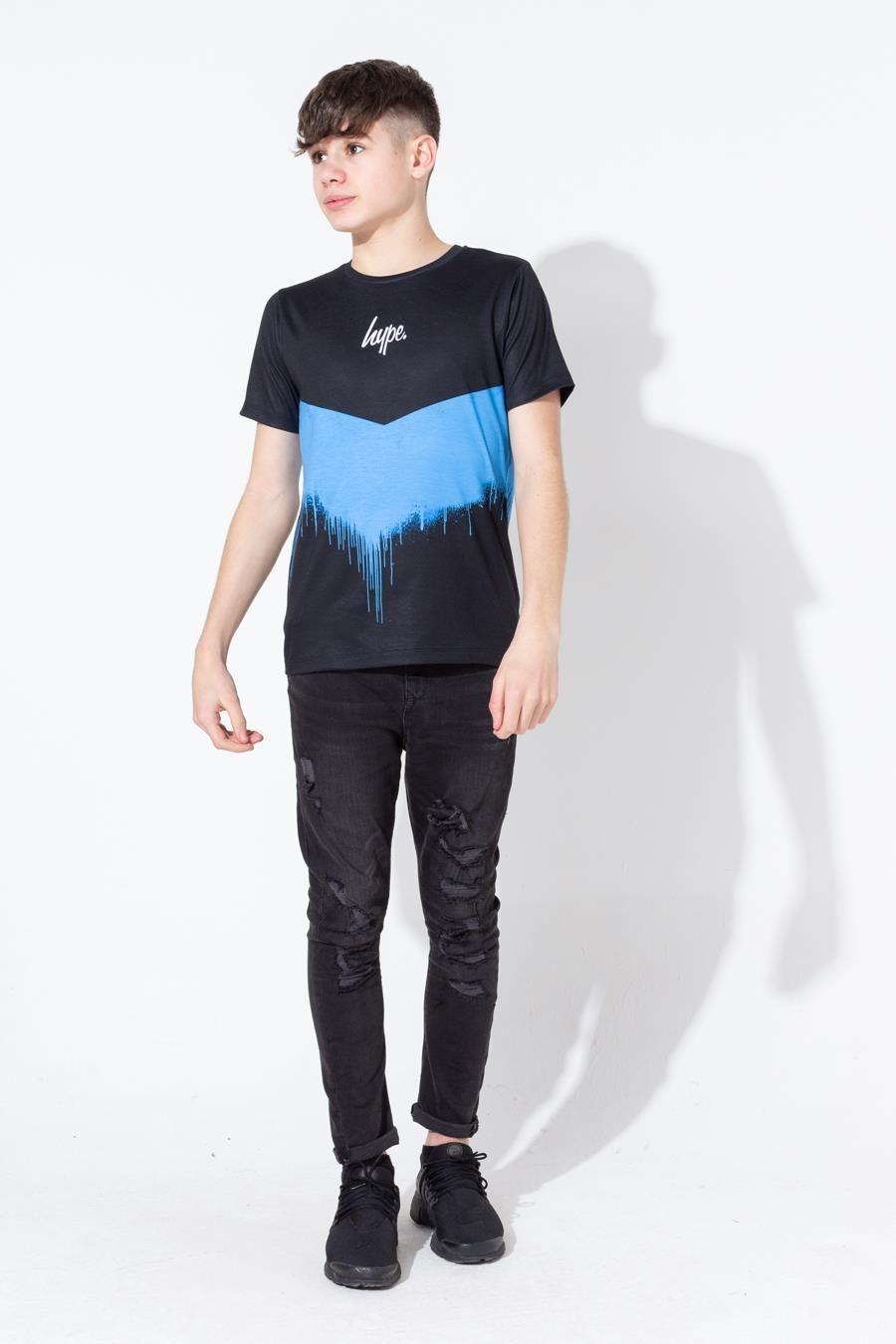 Hype Blue Chevron Drips Kids T-Shirt