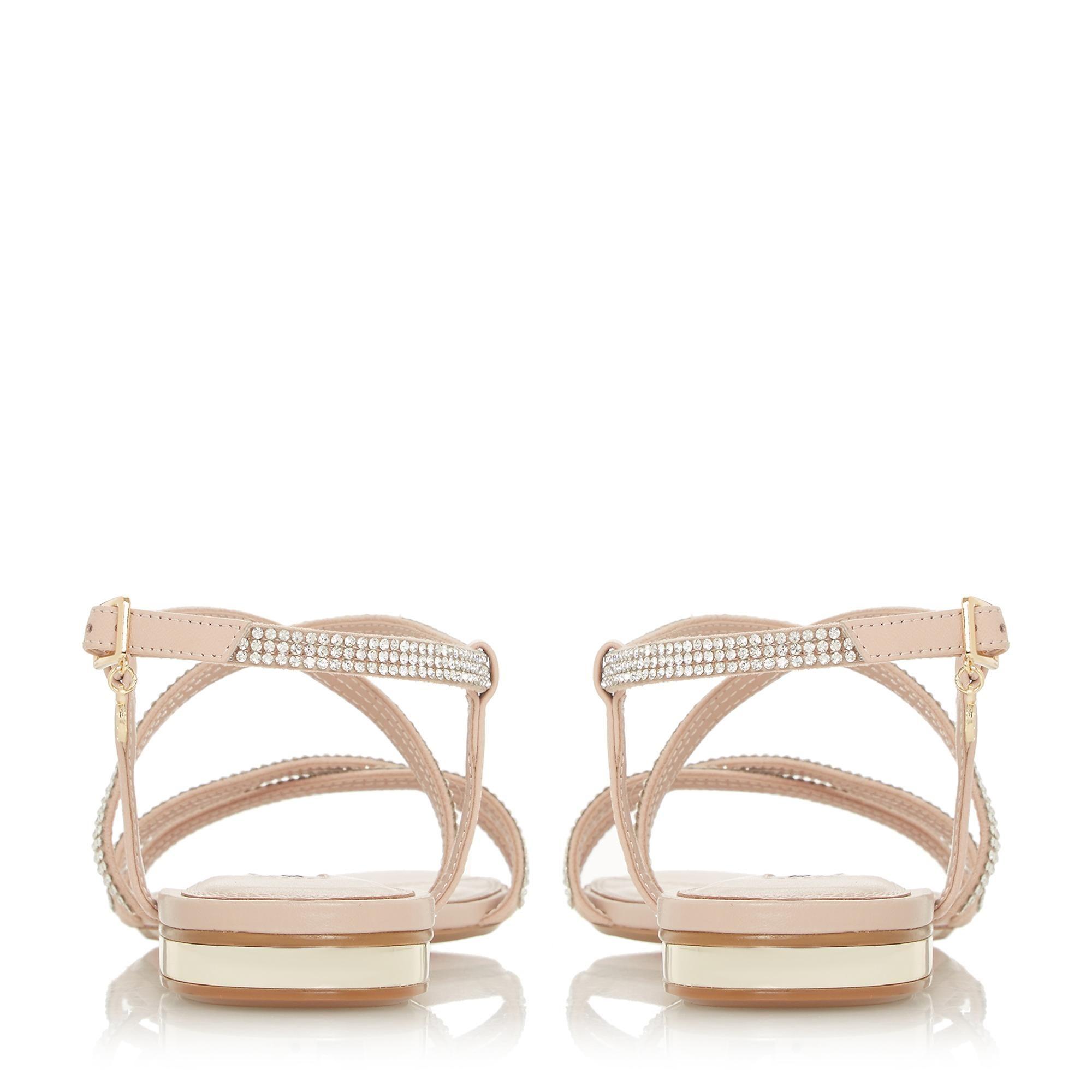 Dune Ladies NEVE Multiple Strap Diamante Embellished Flat Sandals