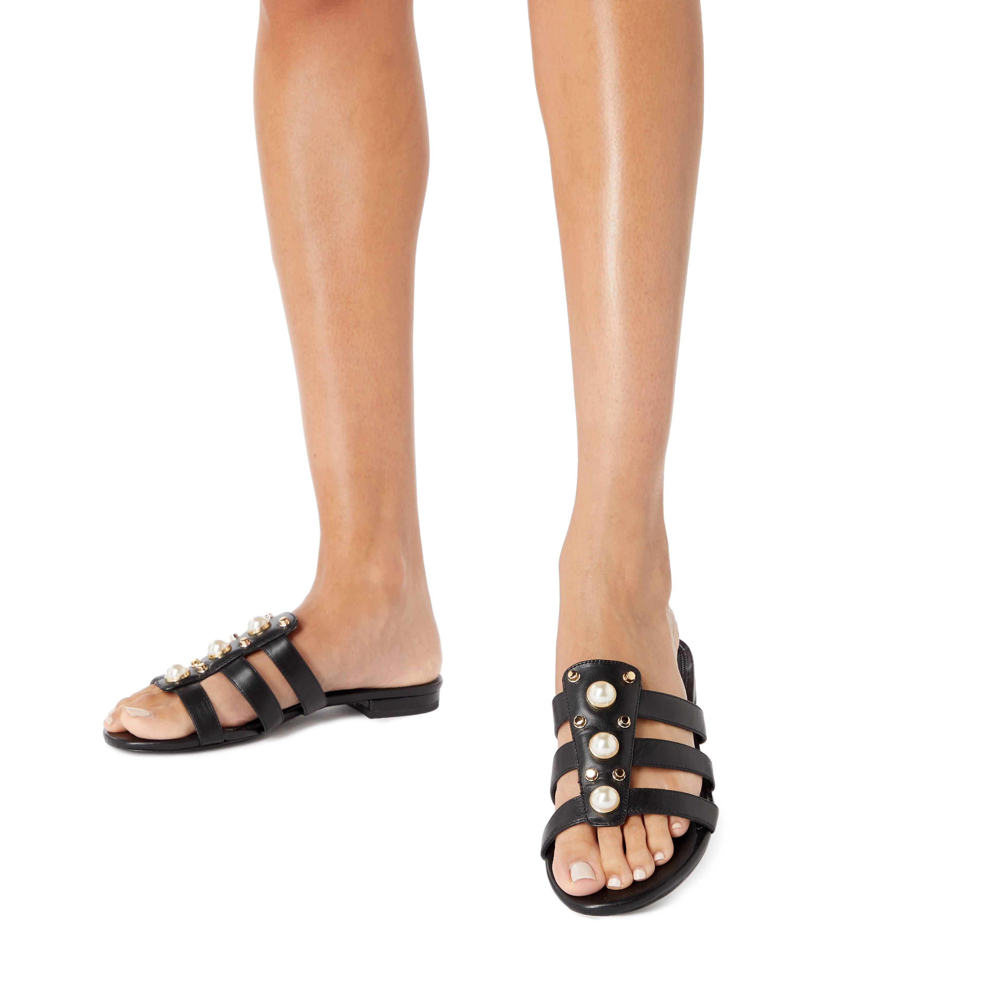 Dune Ladies NIKOLE Embellished Pearl and Stud Flat Sandals