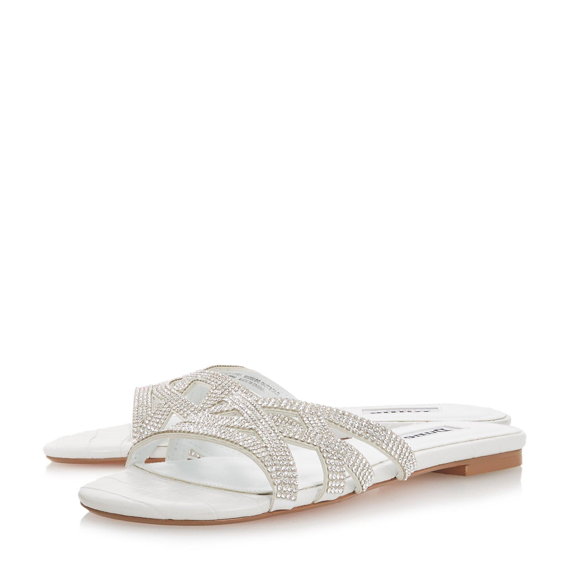 Dune Ladies NOBLEE Diamante Cross-Strap Slider Sandals