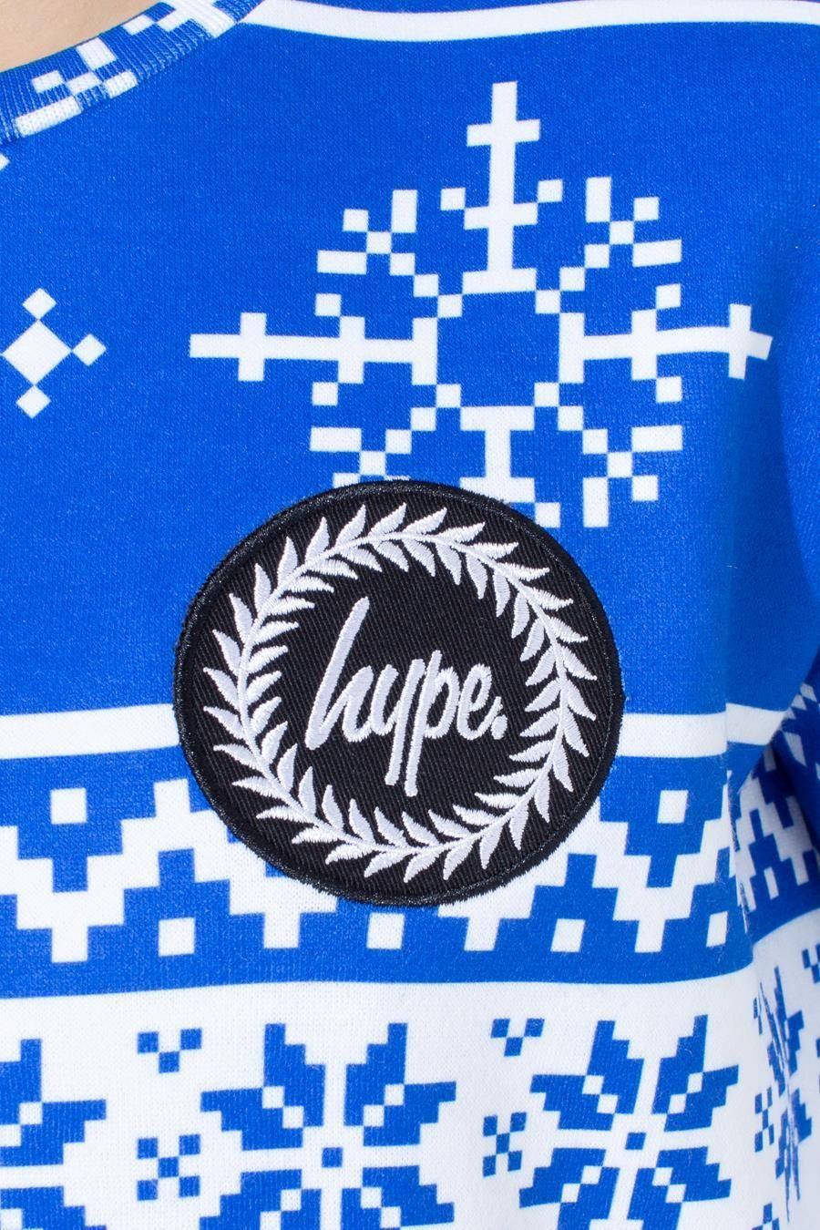 Hype Blue Fairisle Kids Crewneck
