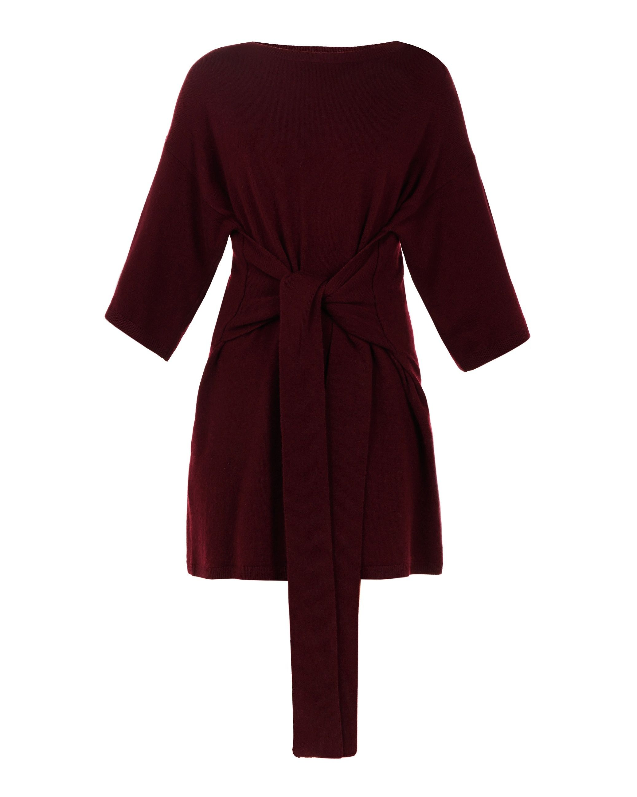 Ted Baker Olympy Tie Front Knitted Tunic in Dark Red