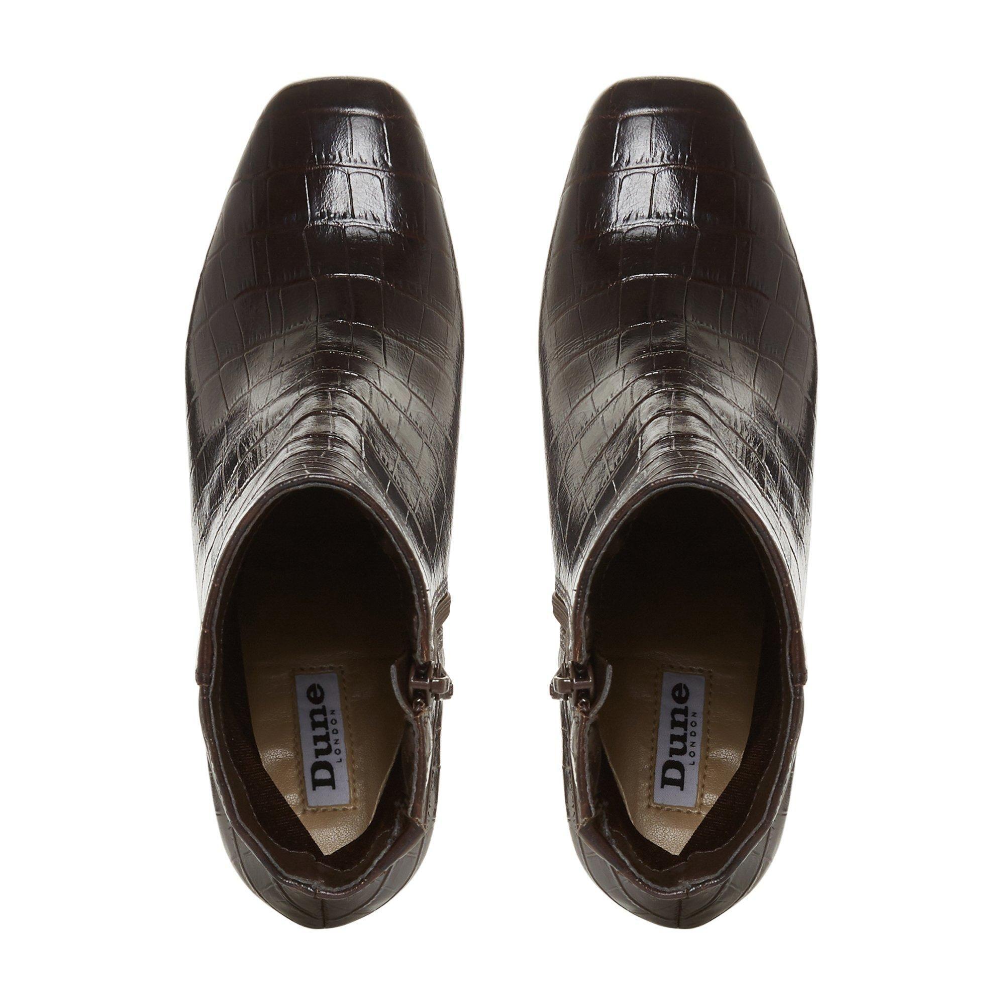 Dune Ladies OREGON T Square Toe Mid Heel Ankle Boots