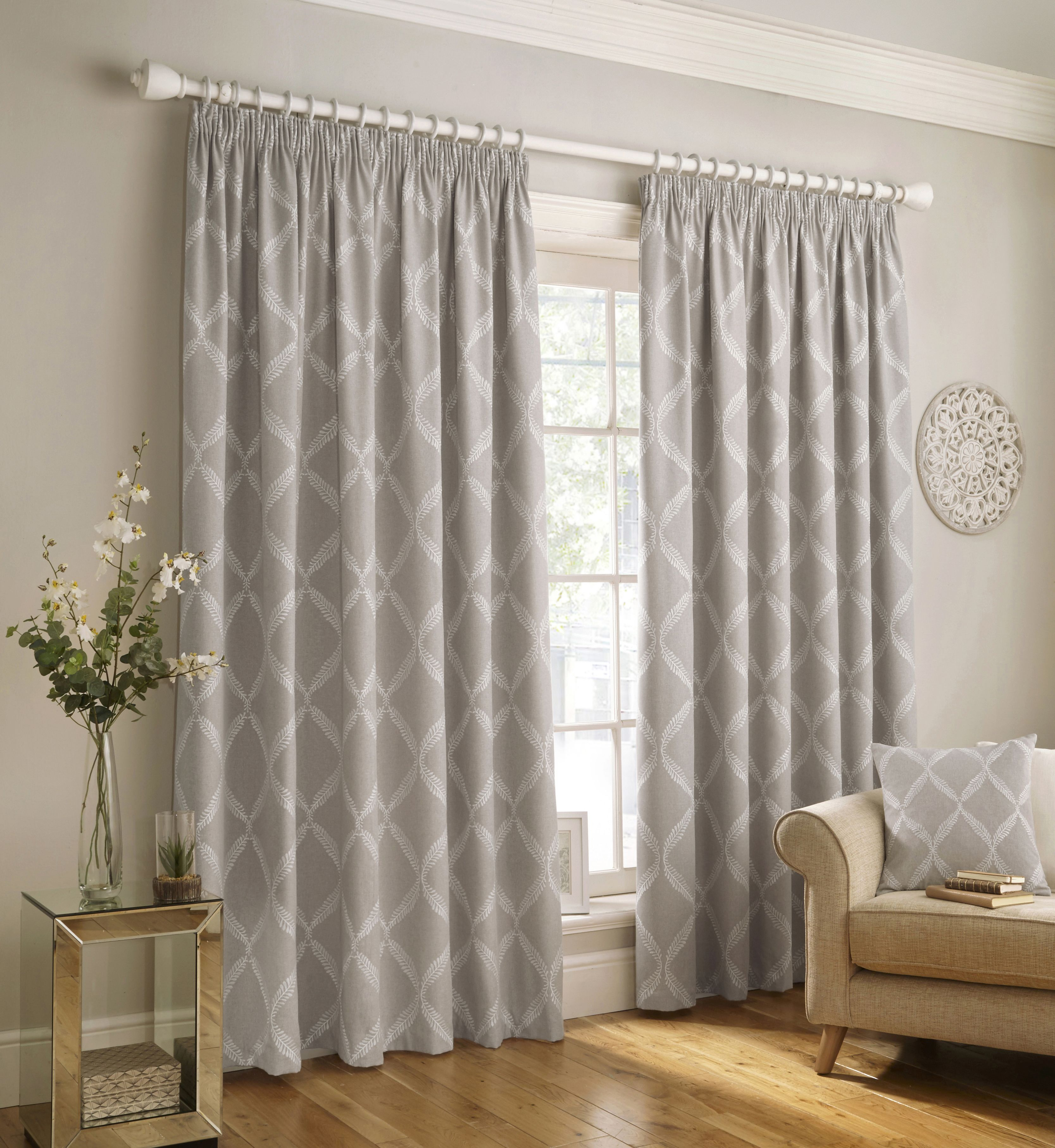 Olivia Embroidered Pencil Pleat Curtains in Grey