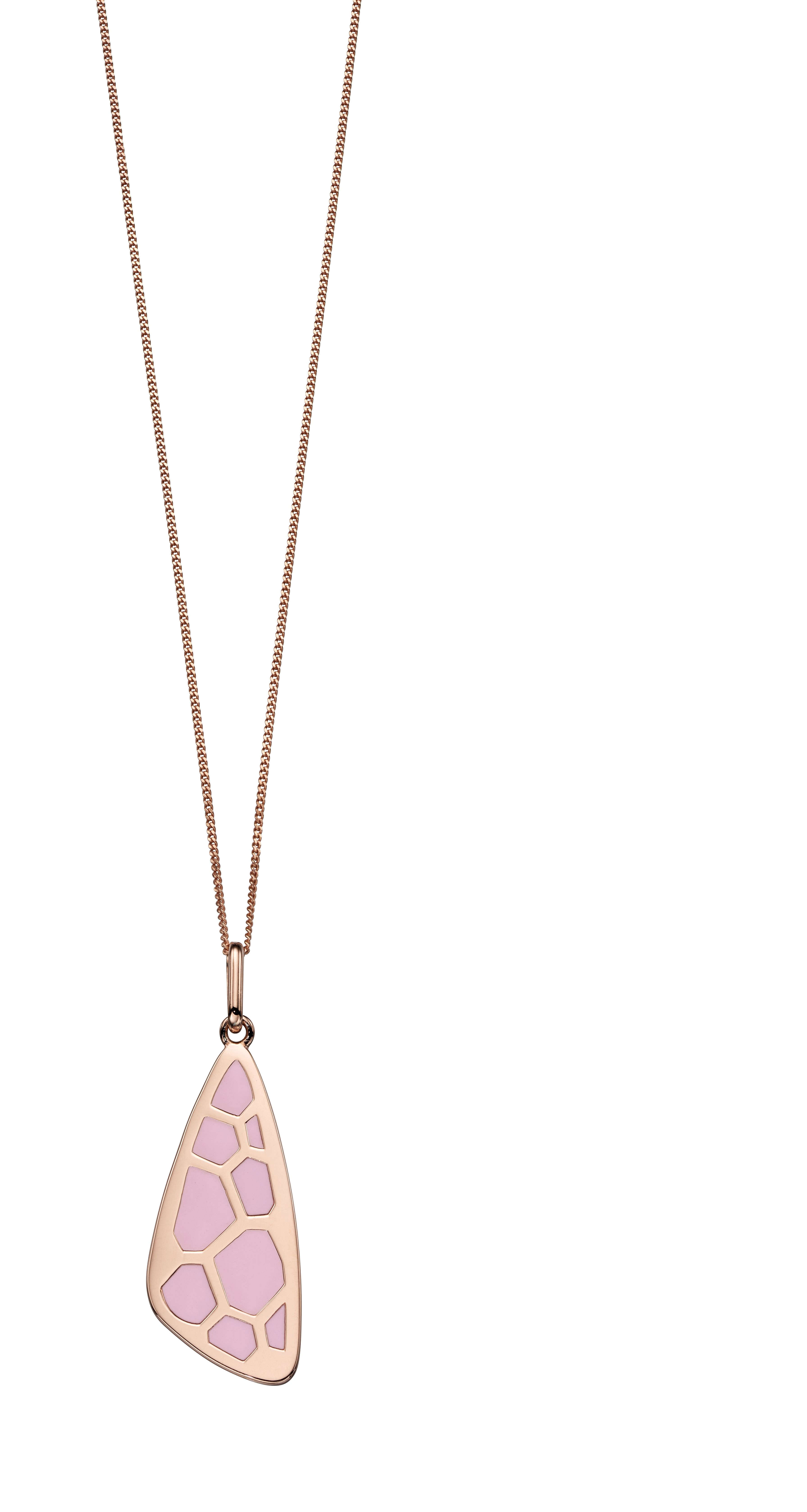 Elements Silver Womens 925 Sterling Silver Rose Gold Plated Pink Enamel Wing Shape Pendant Necklace of Length 46cm