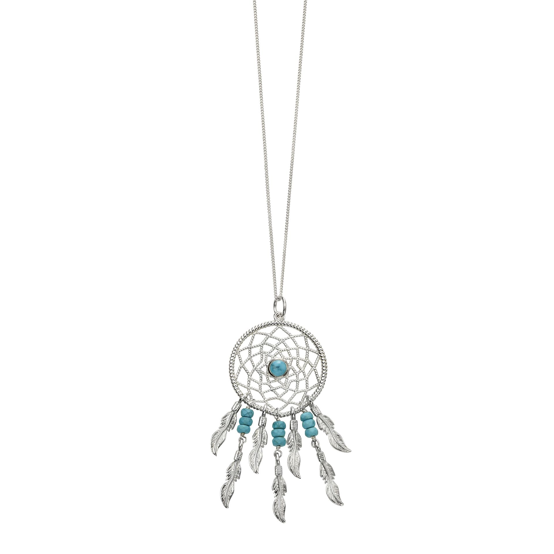 Beginnings Ladies' 925 Sterling Silver & Blue Magnesite Bead Dreamcatcher Pendant Necklace of Length 51-56m