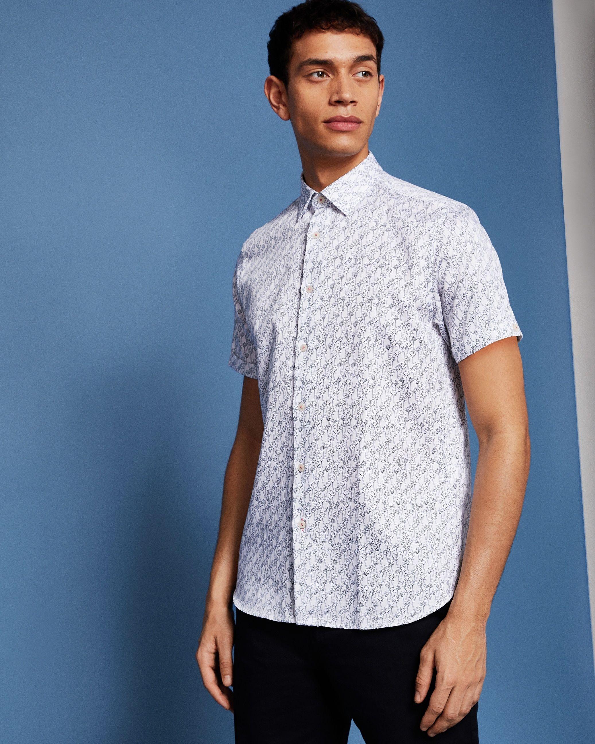 Ted Baker Palmgoo Short-Sleeved Palm Leaf Line Print Shirt, White