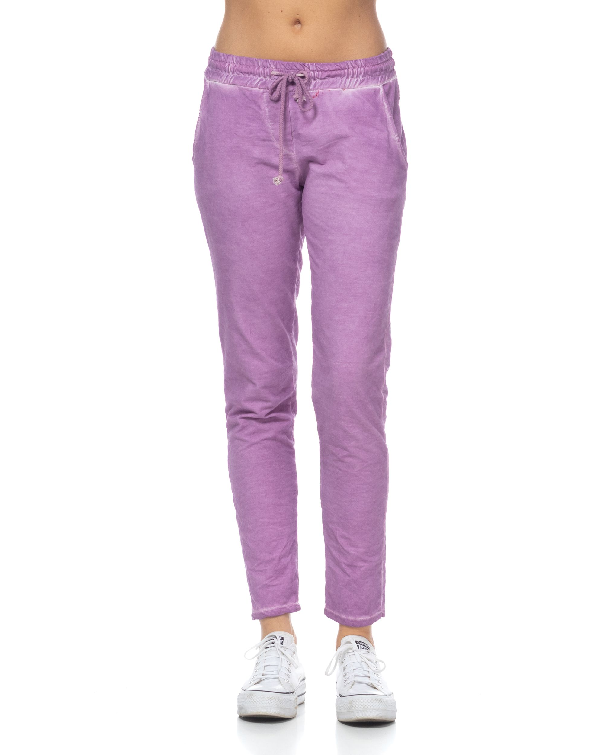 Sports pants with washed effect and elastic waist