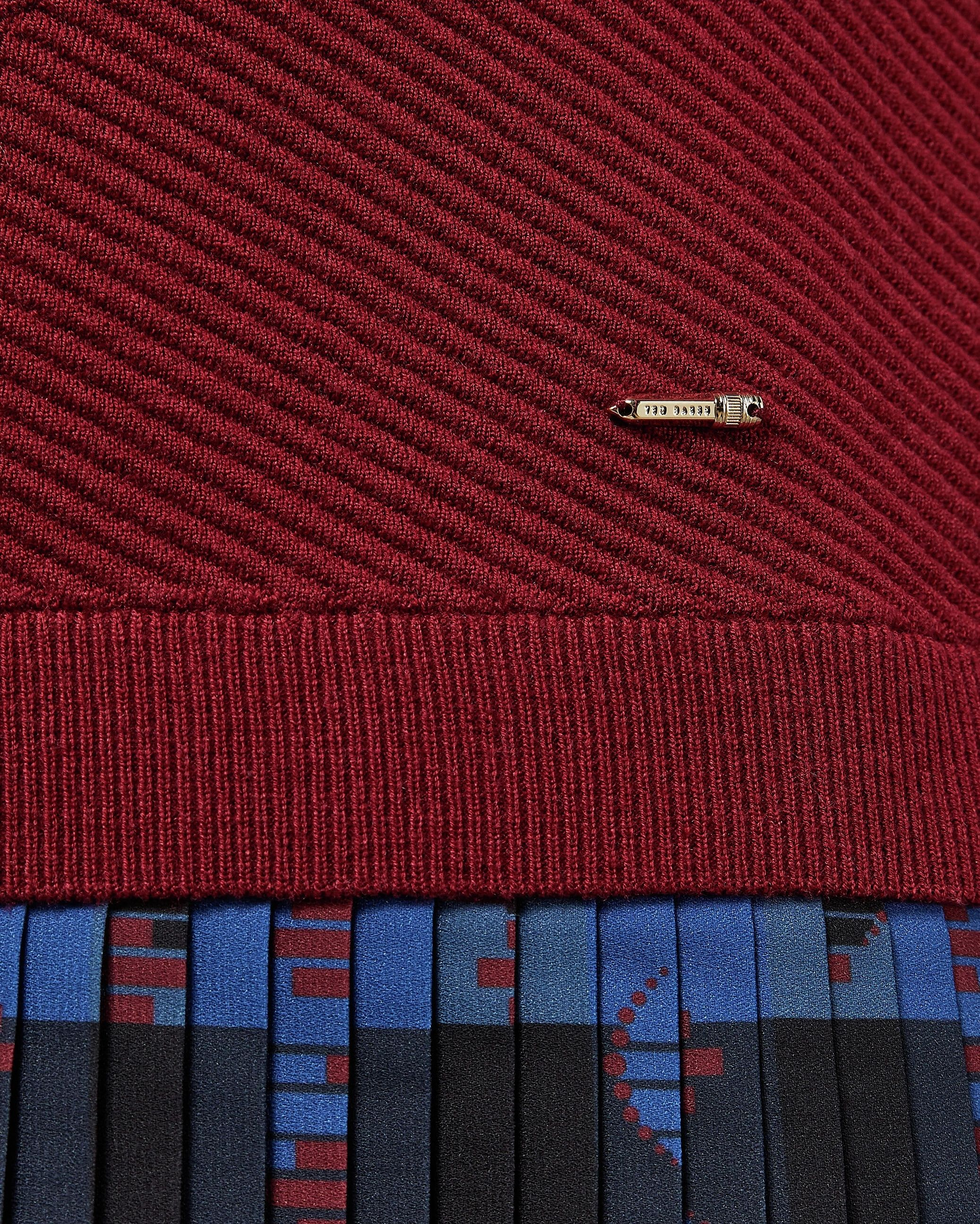 Ted Baker Paraz Cabin Knit Woven Robot Check Dress in Dark Red