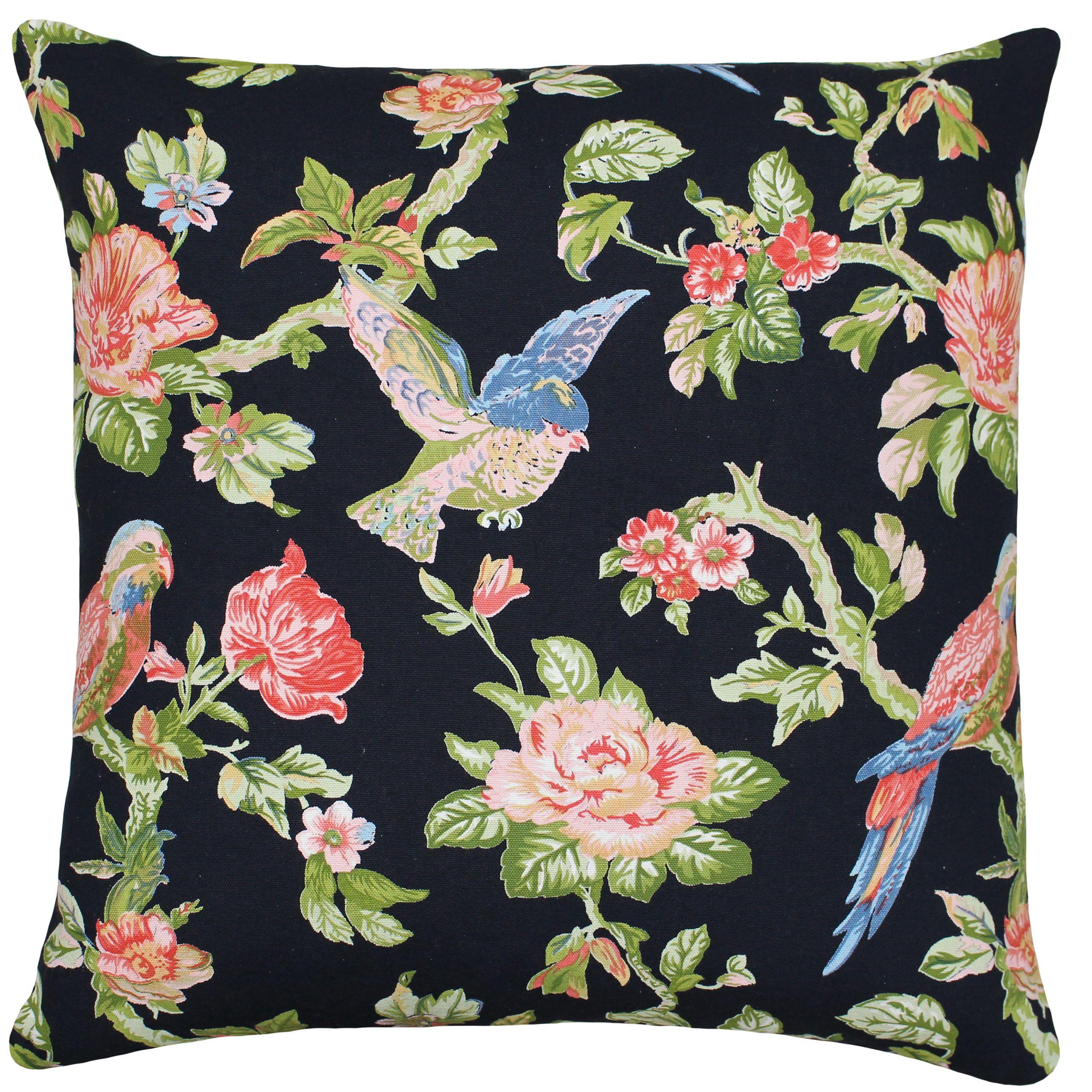 Parrot 50X50 Poly Cushion Black