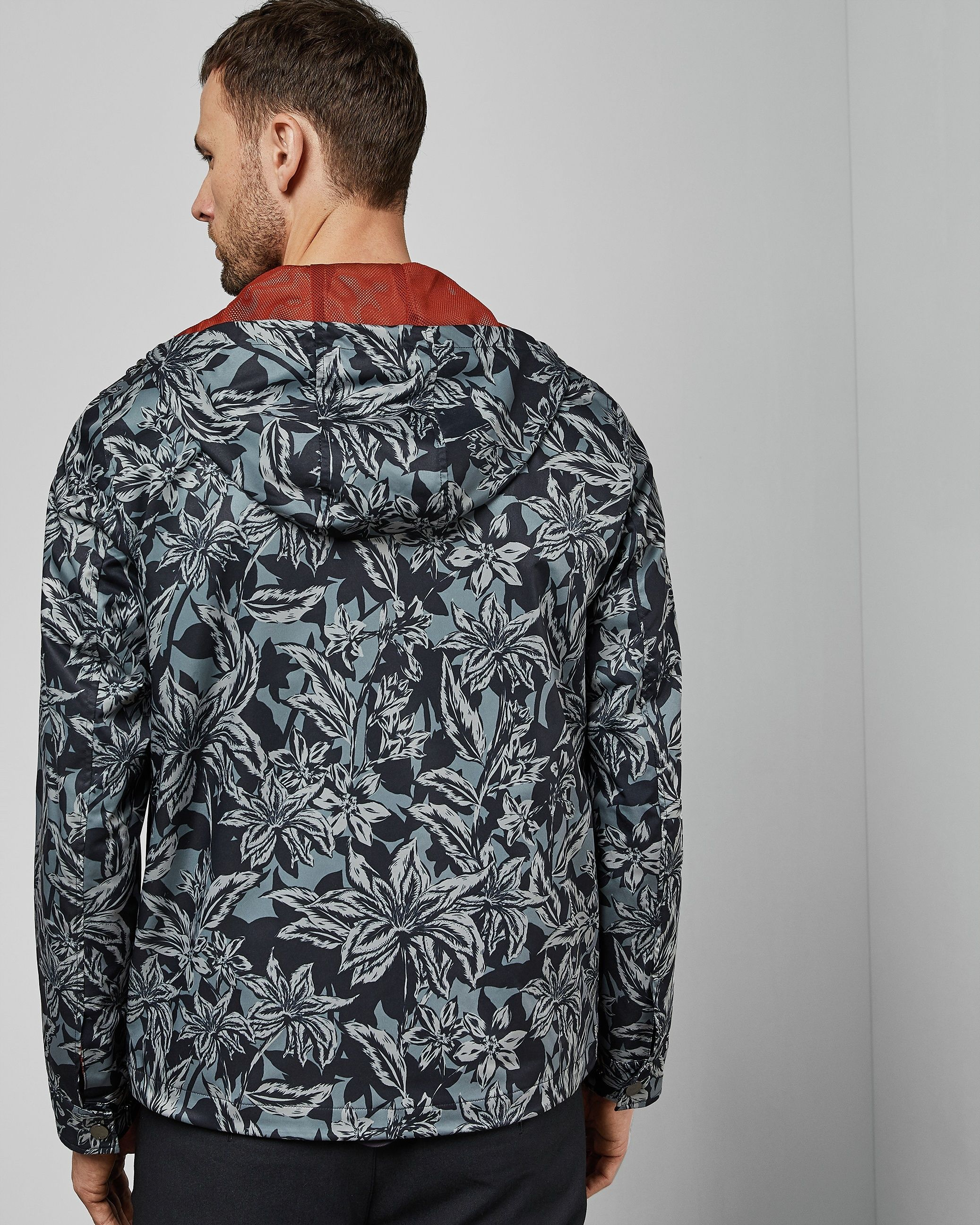 Ted Baker Paso Printed Floral Cagoule, Navy