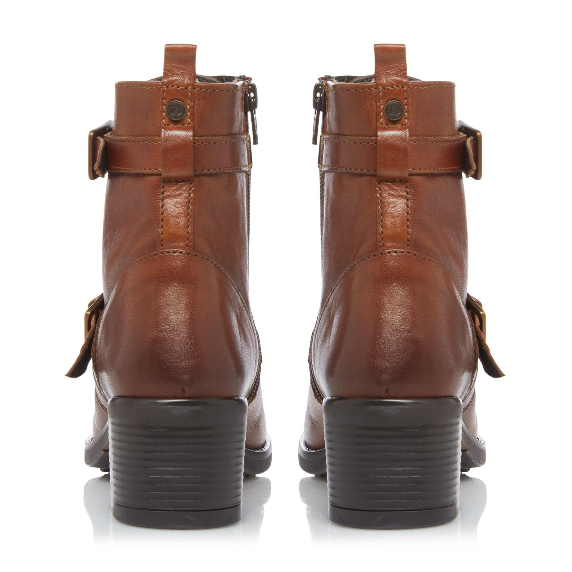 Dune Ladies PAXTONE 2 Buckle Detail Heeled Hiker Ankle Boots