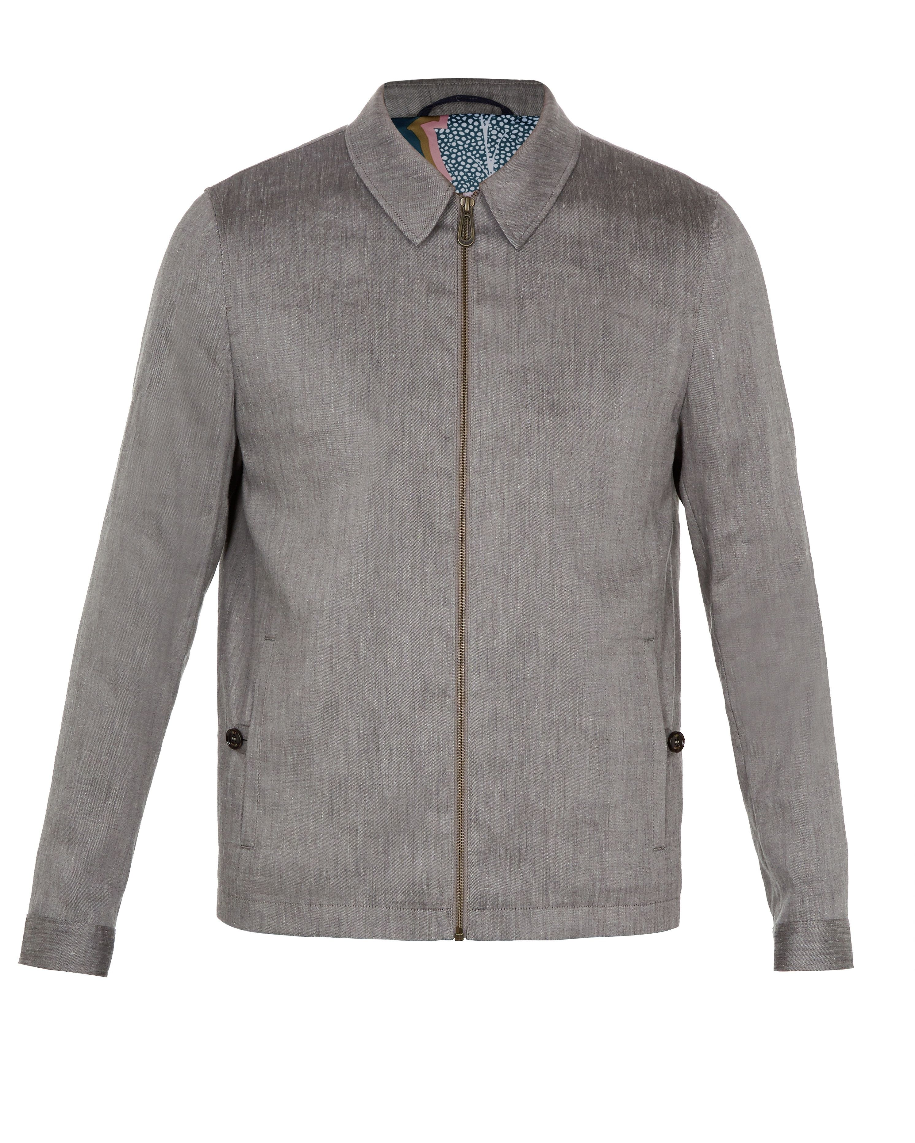 Ted Baker Phily Linen Harrington Jacket, Taupe