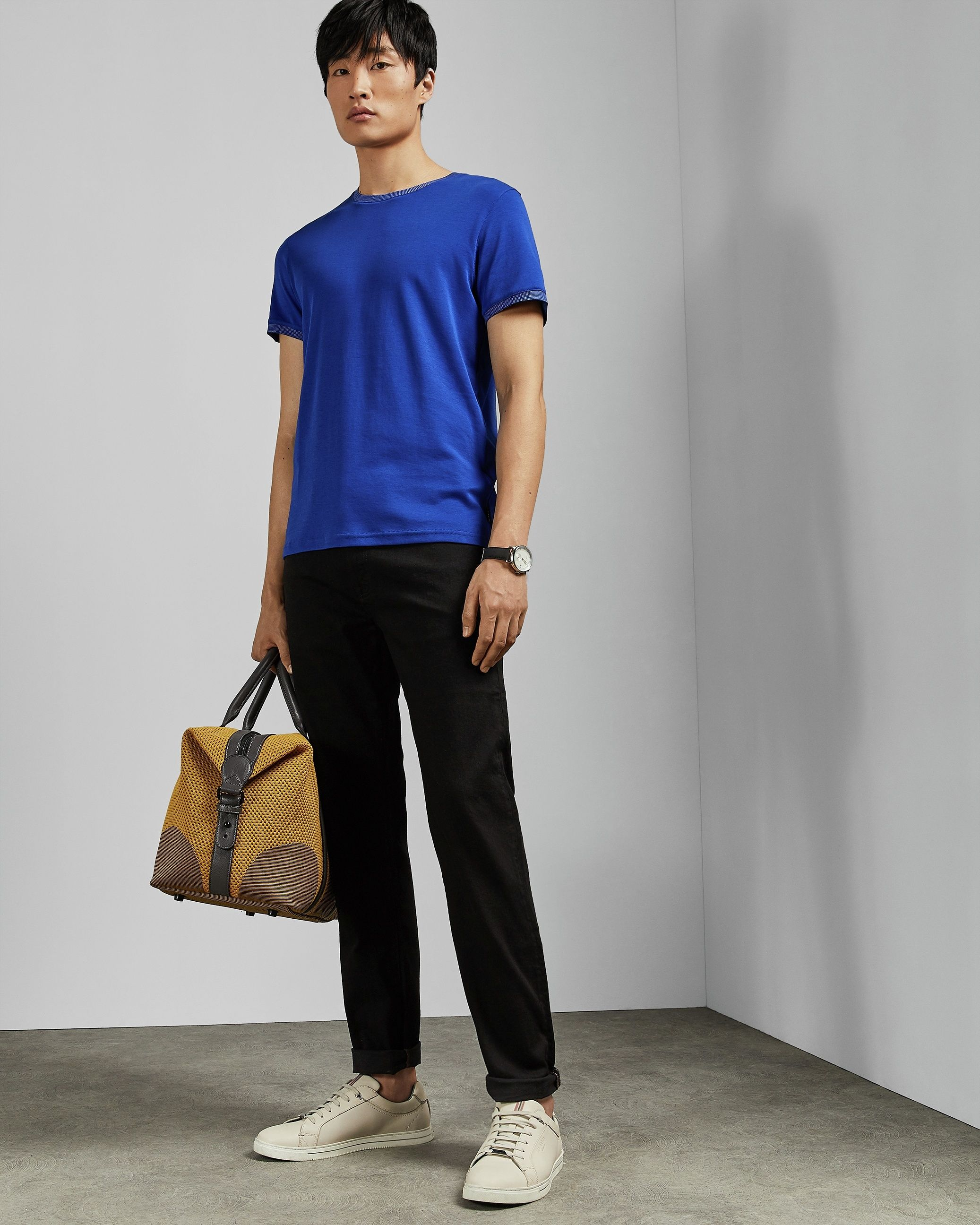 Ted Baker Pik Crew Neck Cotton T-Shirt, Mid Blue