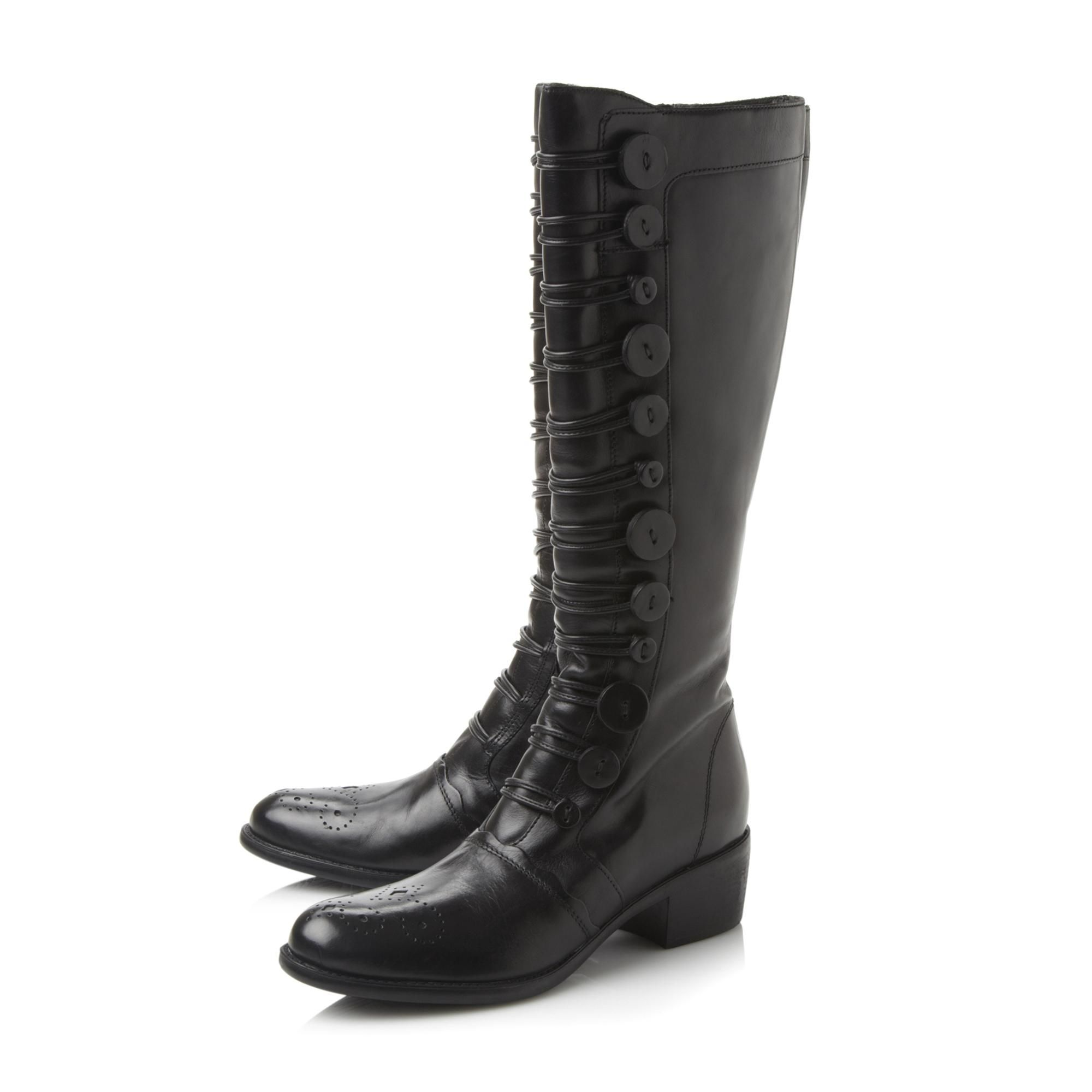 Dune Ladies PIXIE D Button Detail Leather Knee High Boots