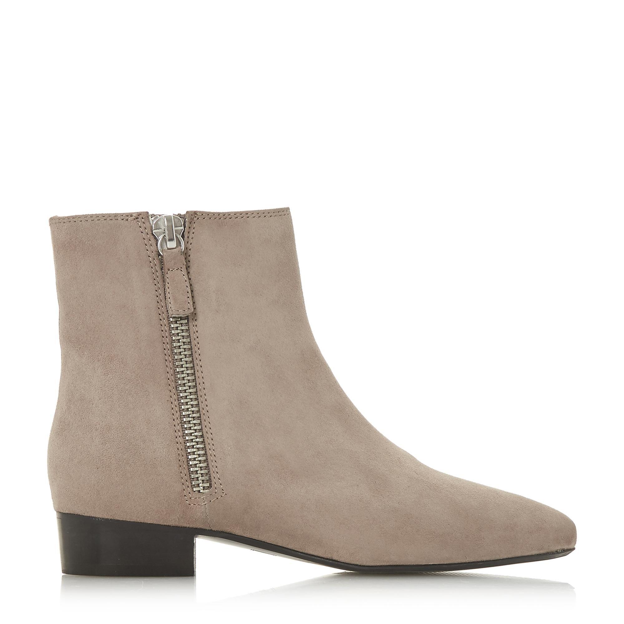 Dune Ladies PIXON  Double Zip Low Block Heel Ankle Boots