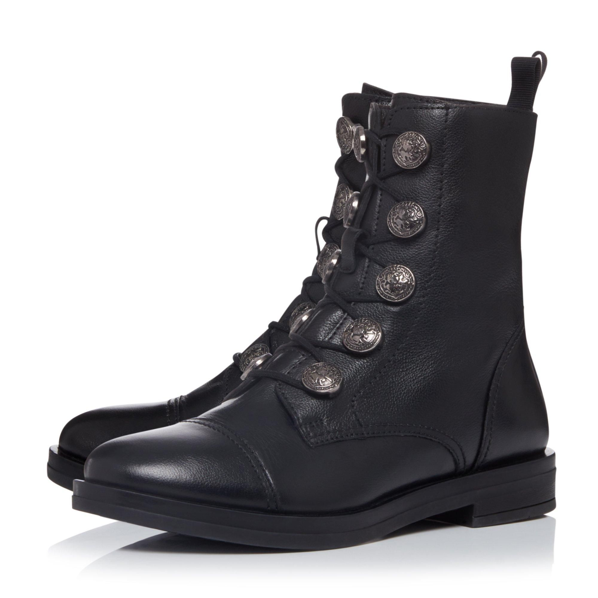 Bertie Ladies POSTER Coin Detail Lace Up Ankle Boots