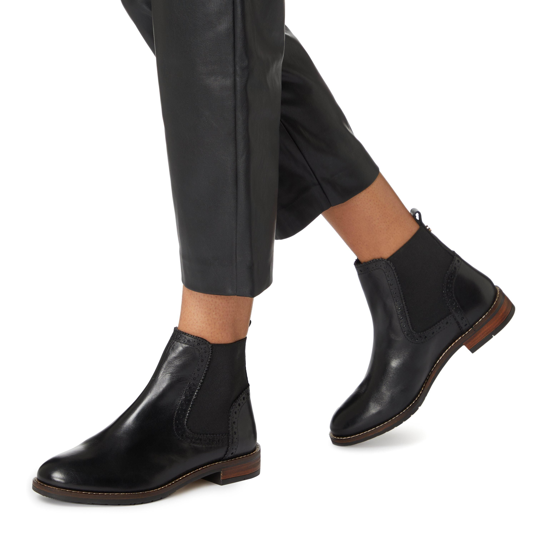 Dune Ladies QUANT Punch Detail Chelsea Ankle Boots