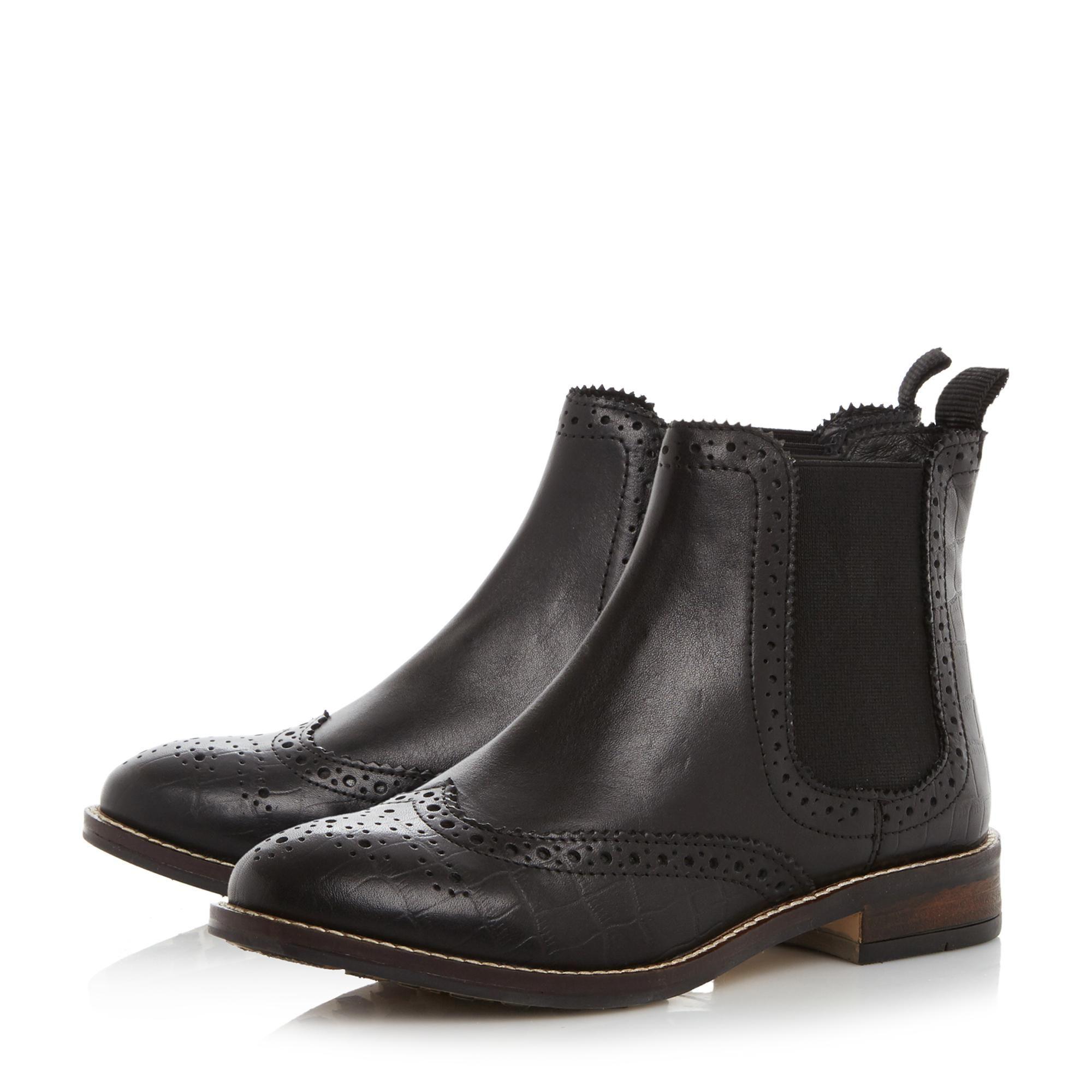 Dune Ladies QUENTONS Brogue Detail Chelsea Boots