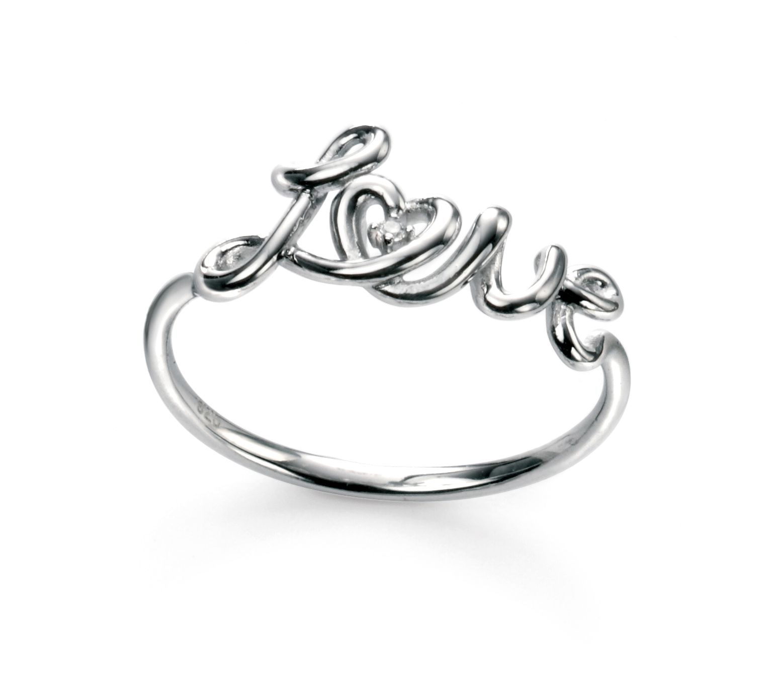 Elements Silver Rhodium Plated Rhodium Plated Love Ring