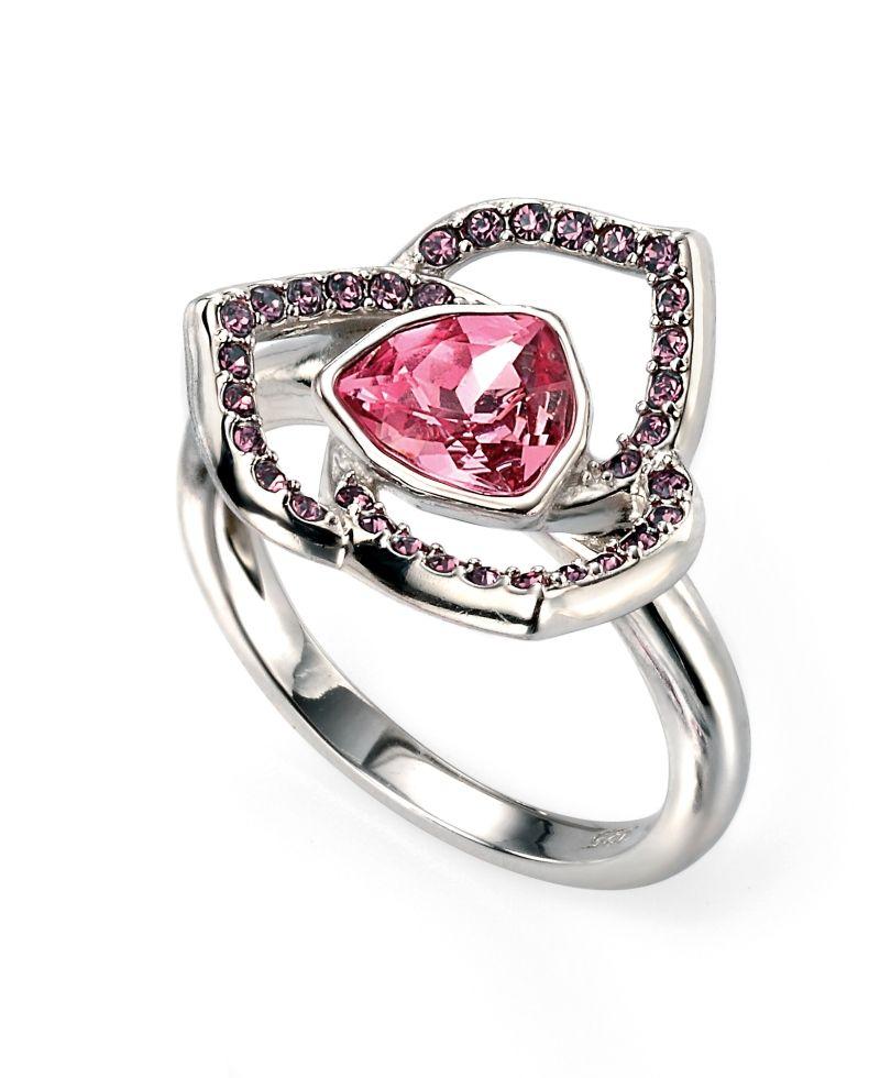 Elements Silver Ladies Rhodium Plated Swarovski Rose and Amethyst Flower Ring