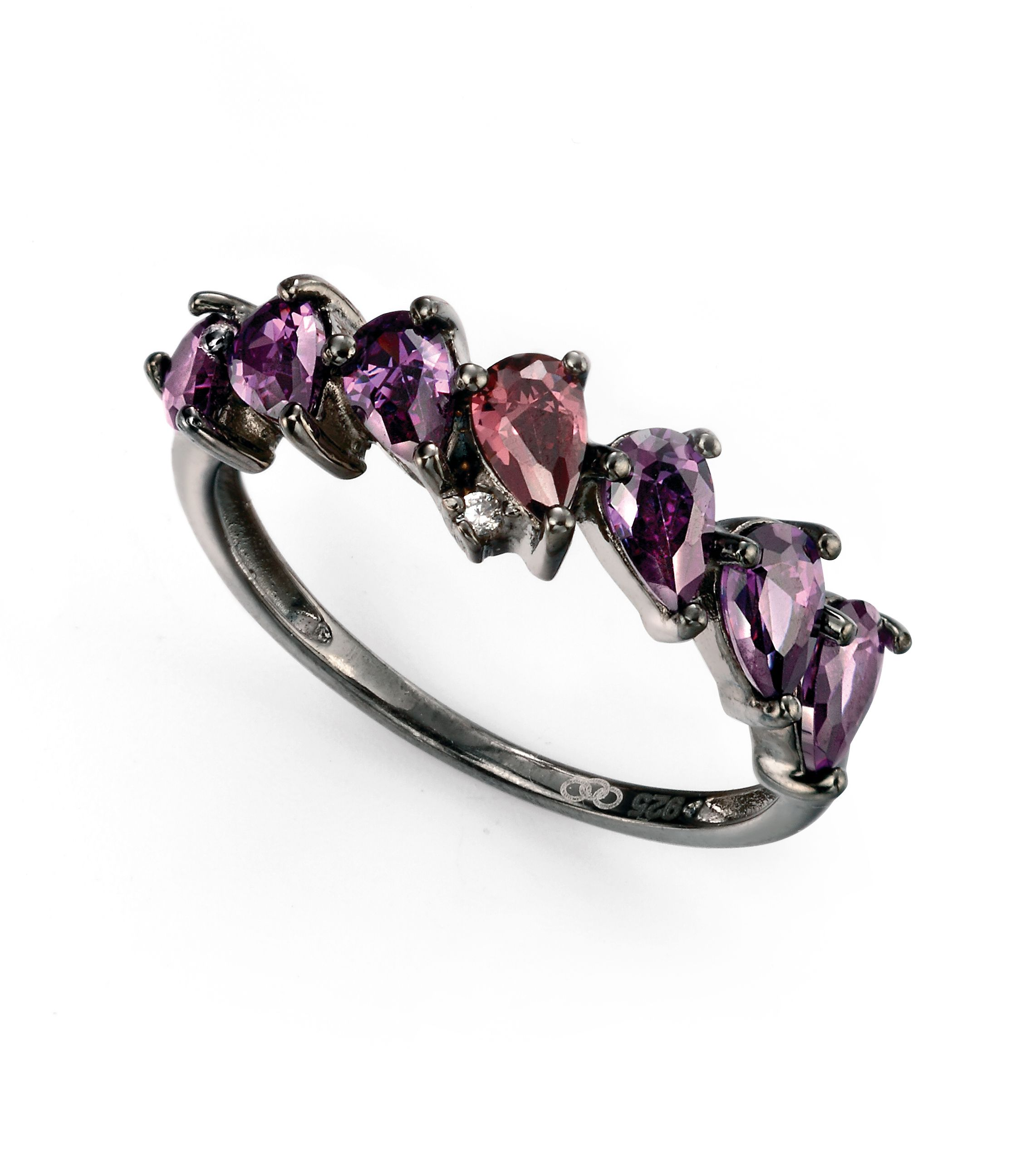 Elements Silver Womens 925 Sterling Silver Cobalt Plated Purples & Clear Cubic Zirconia Ring