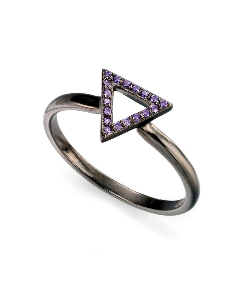 Elements Silver Womens 925 Sterling Silver Black Open Triangle Ring with Purple Cubic Zirconia