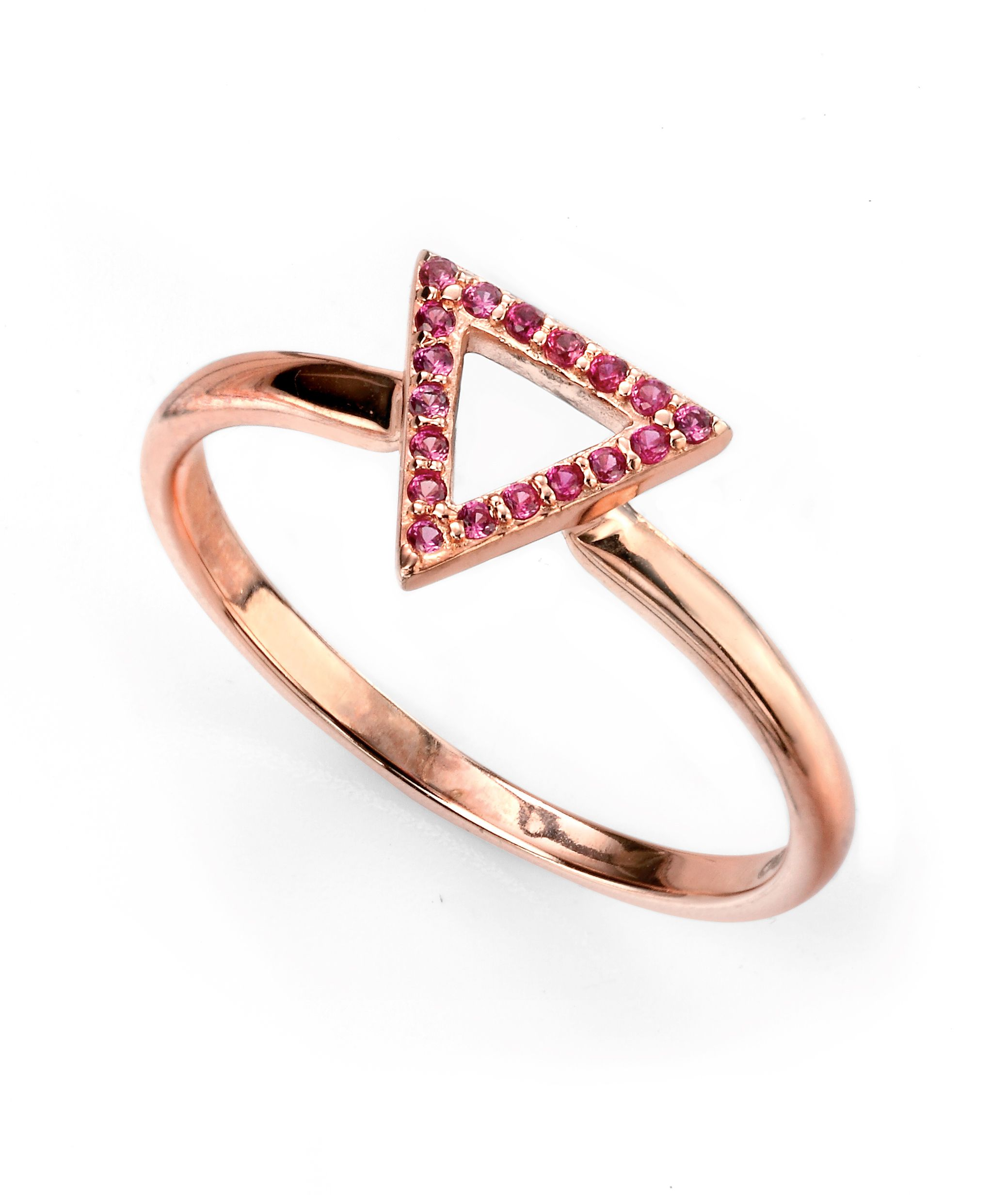 Elements Silver Ladies 925 Sterling Silver Rose Gold Plated Pink Cubic Zirconia Open Triangle Ring