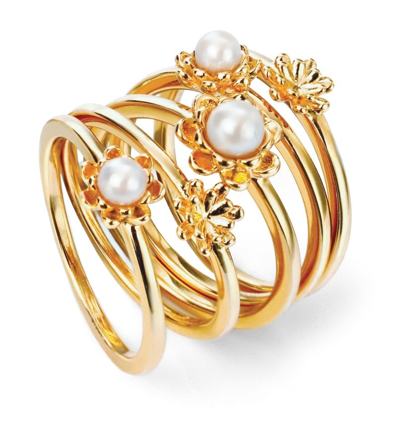 Elements Silver Womens 925 Sterling Silver Gold Plated Set of 5 Freshwater Pearl Flower Stacking Rings