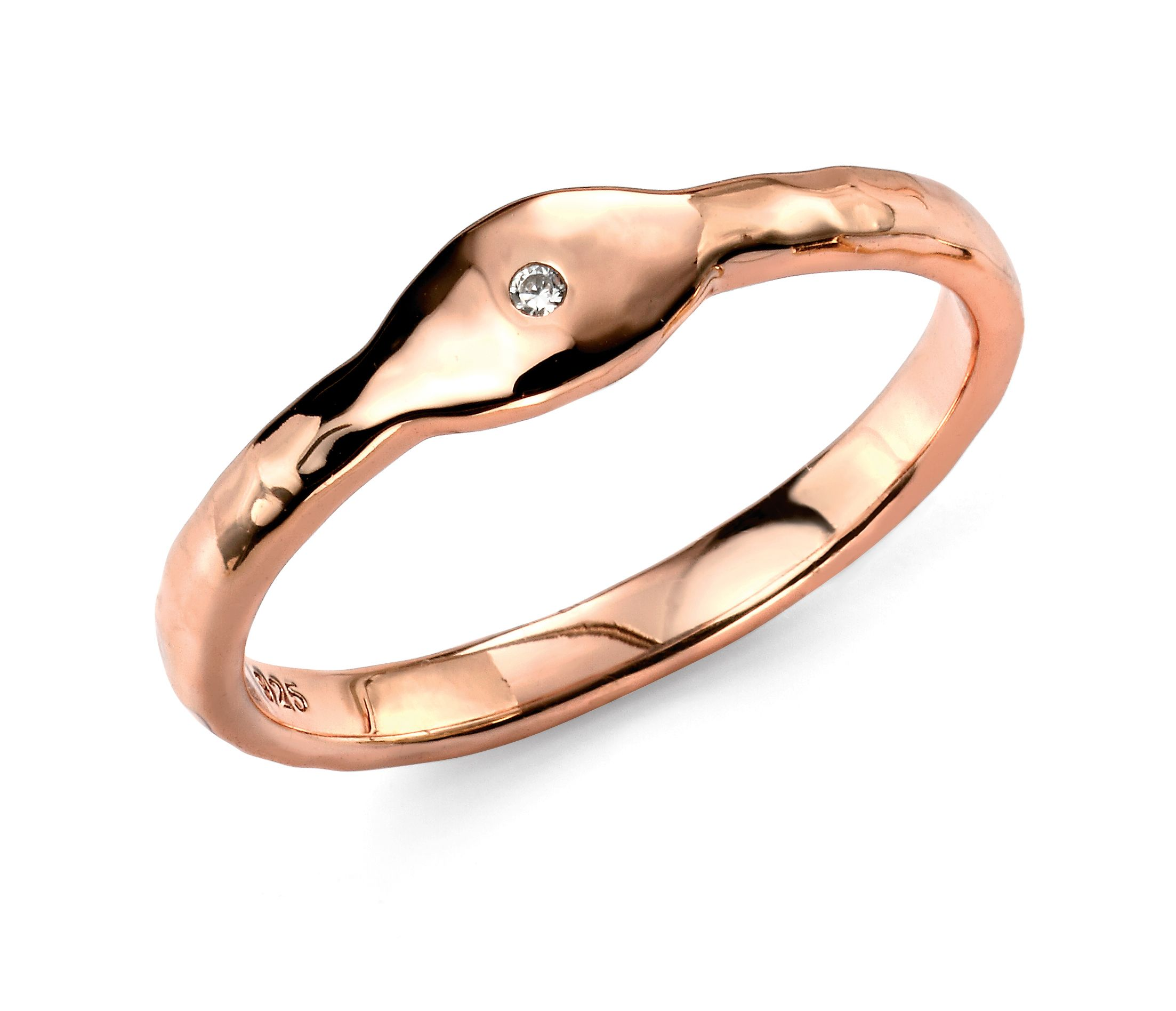 Elements Silver Sterling Silver Rose Gold CZ Plated Stacking Ring