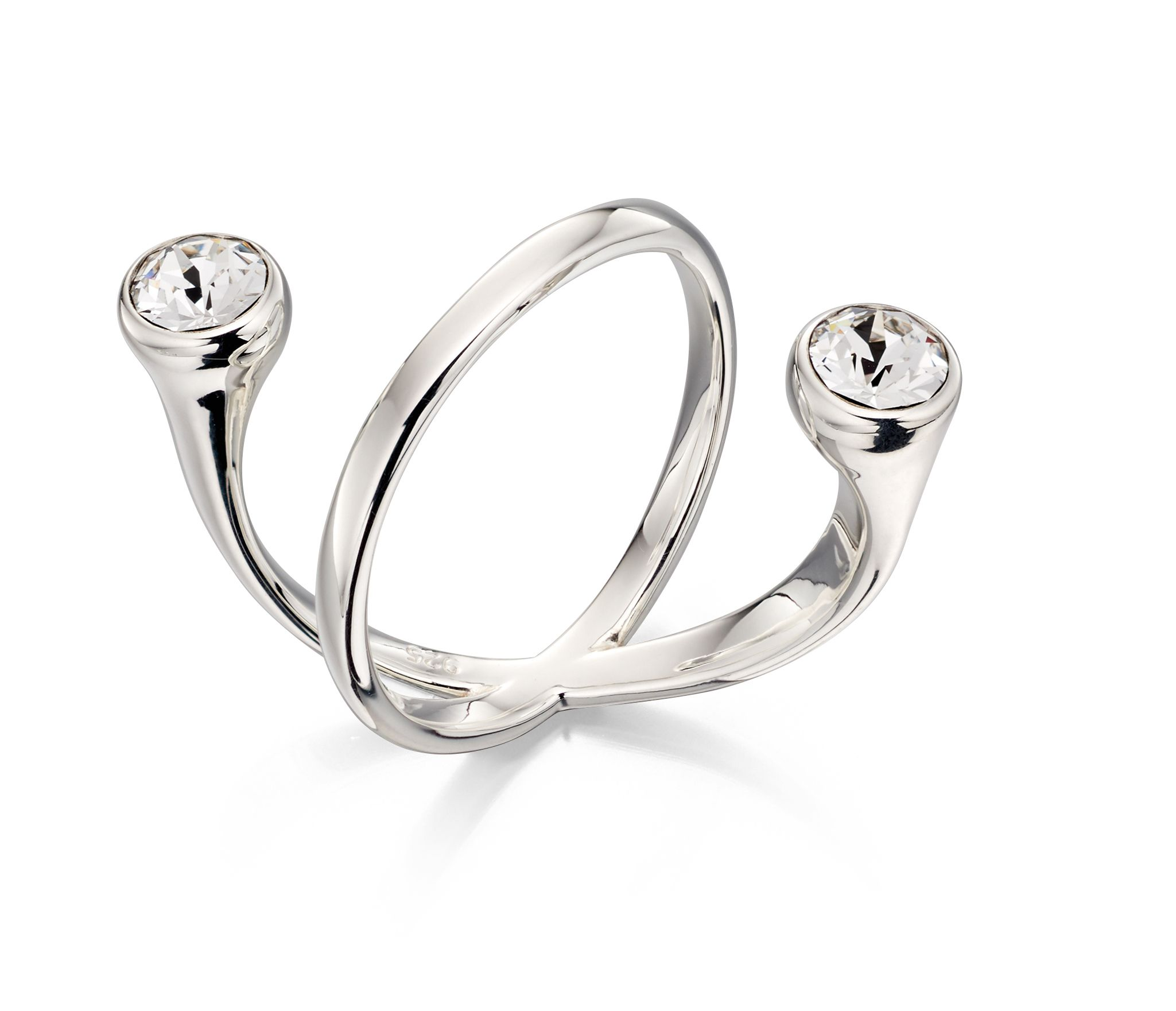 Elements Silver Women's 925 Sterling Silver Floating Clear Crystal by Swarovski Ring