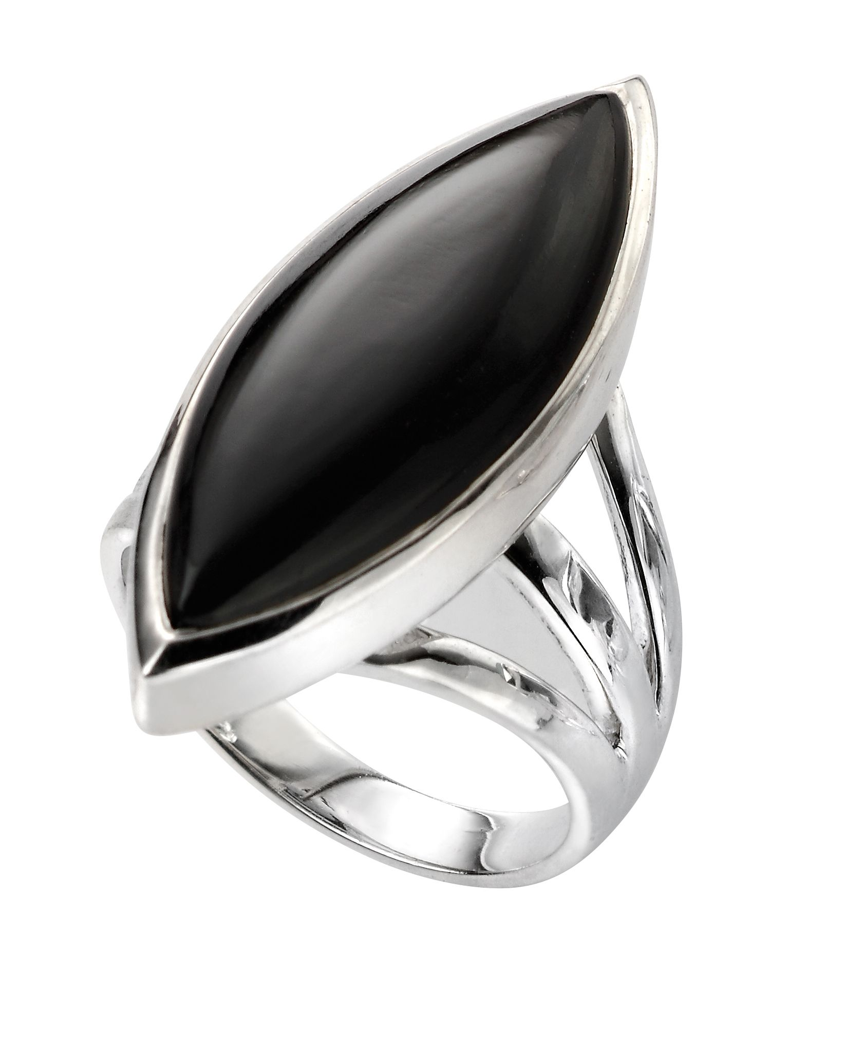 Elements Silver Womens 925 Sterling Silver Marquise Black Onyx Statement Ring