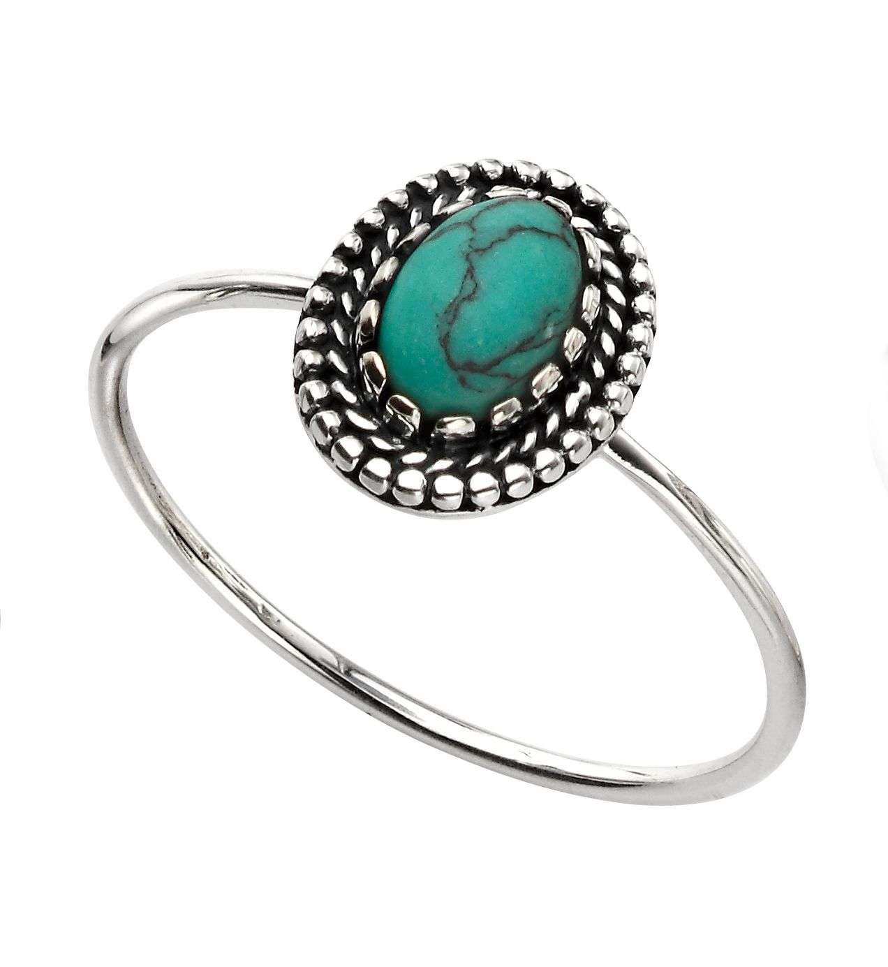 Elements Silver Womens 925 Sterling Silver Turquoise Oxidised Design Ring
