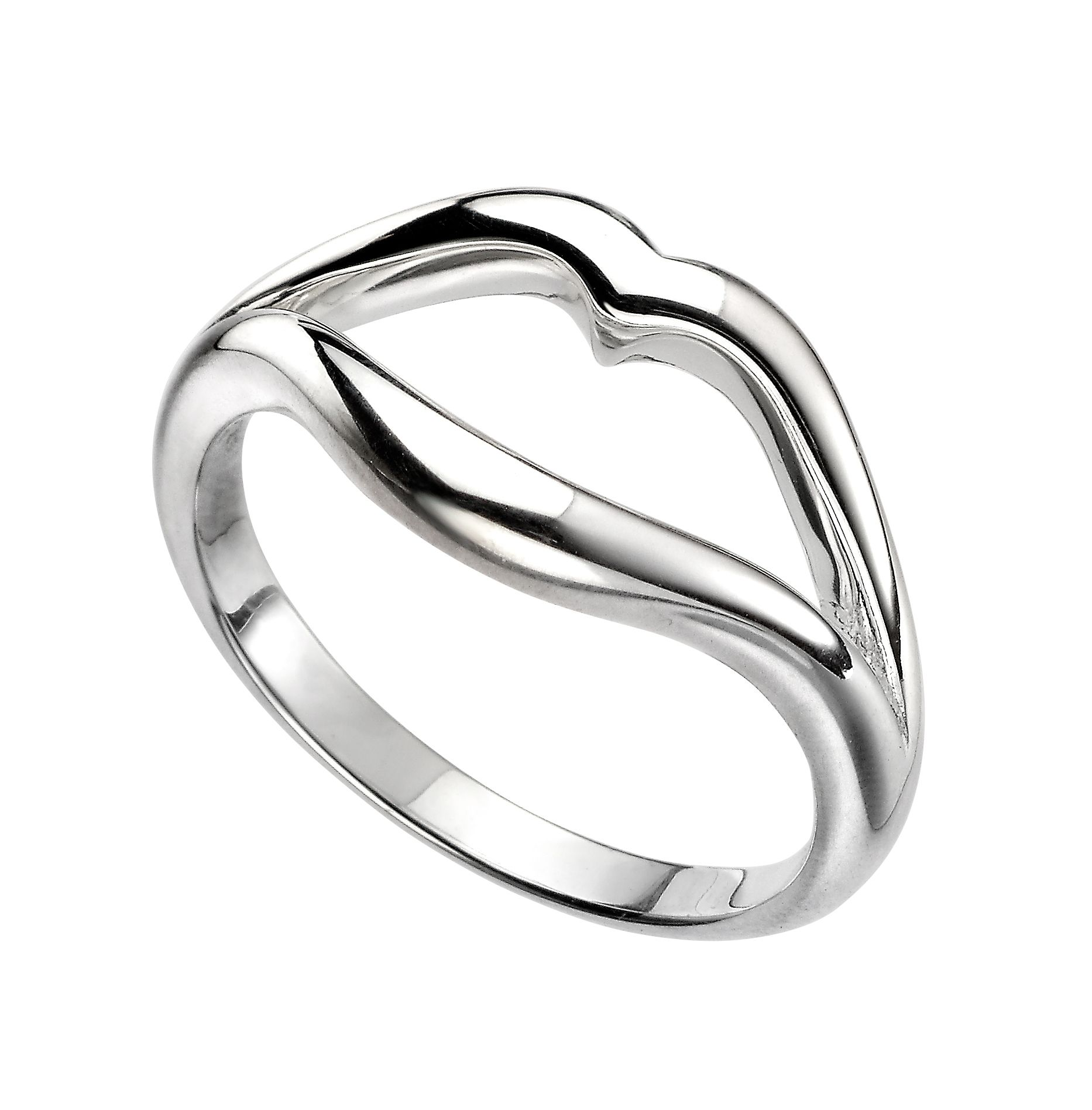 Elements Silver Womens 925 Sterling Silver Open Lips Ring