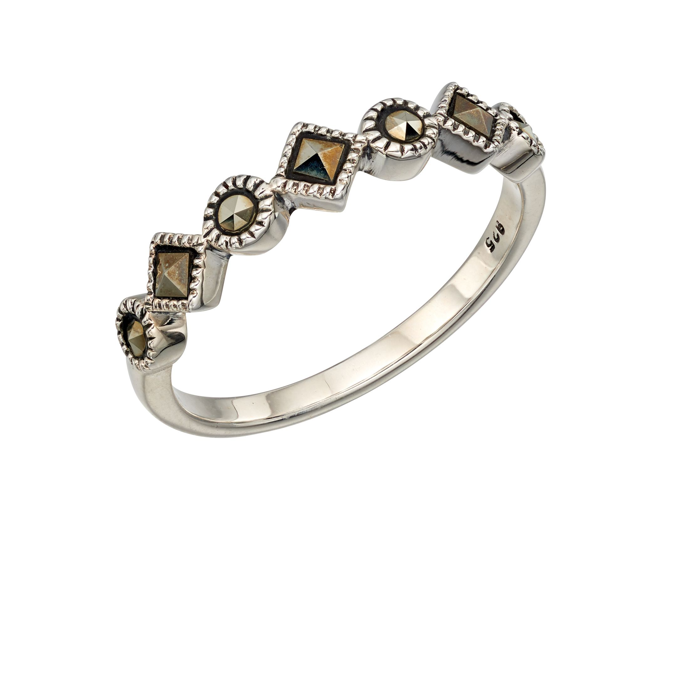 Elements Silver - Women Round Marcasite Ring