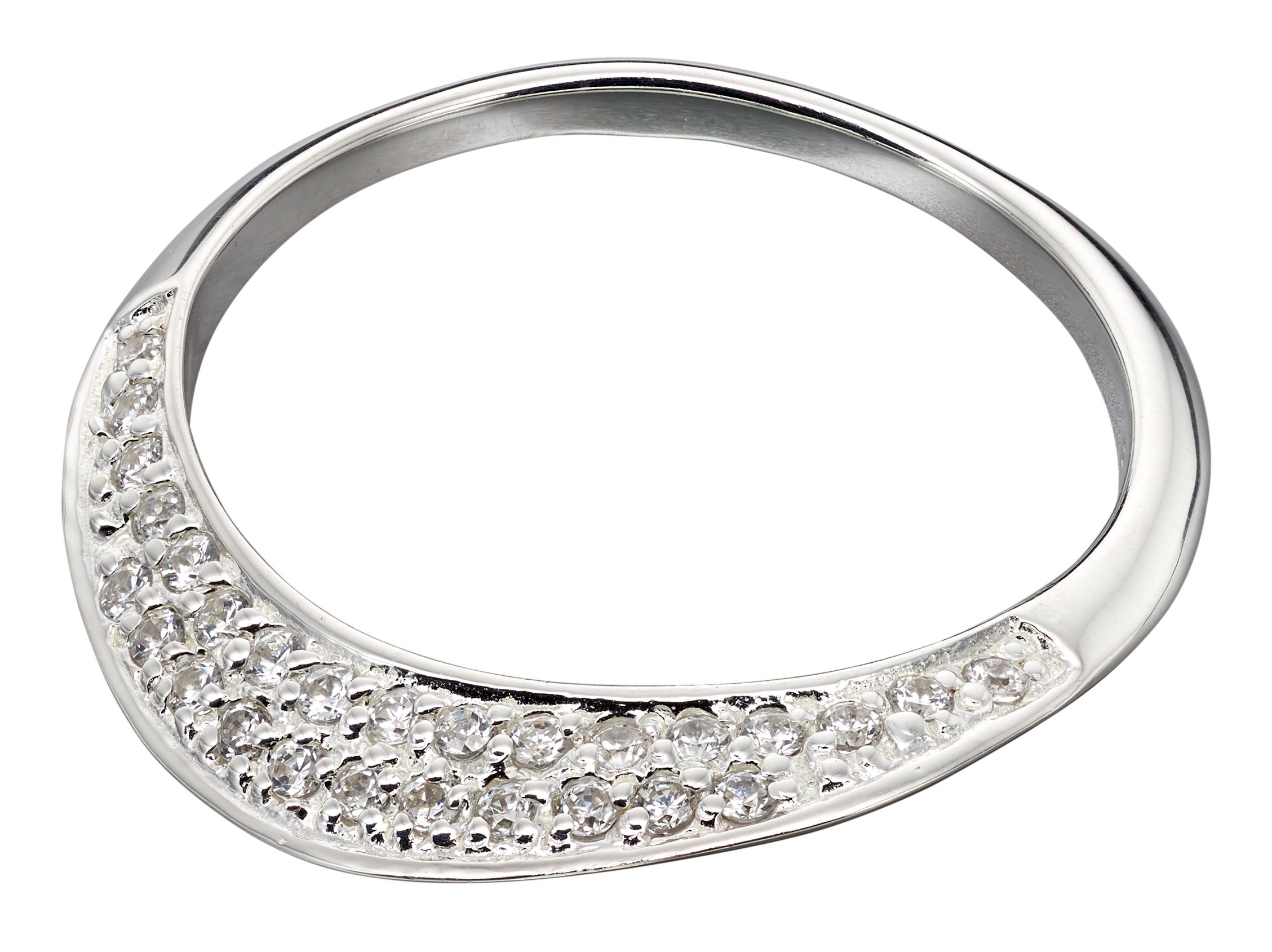 Elements Silver Womens 925 Sterling Silver Pave Cubic Zirconia Flat Band Ring