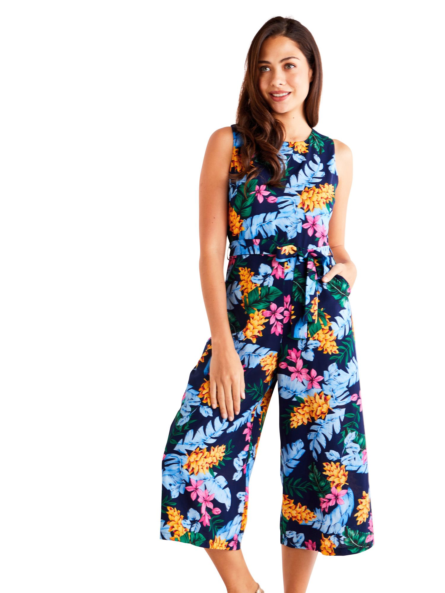 Bright Tropical Culotte Jumpsuit