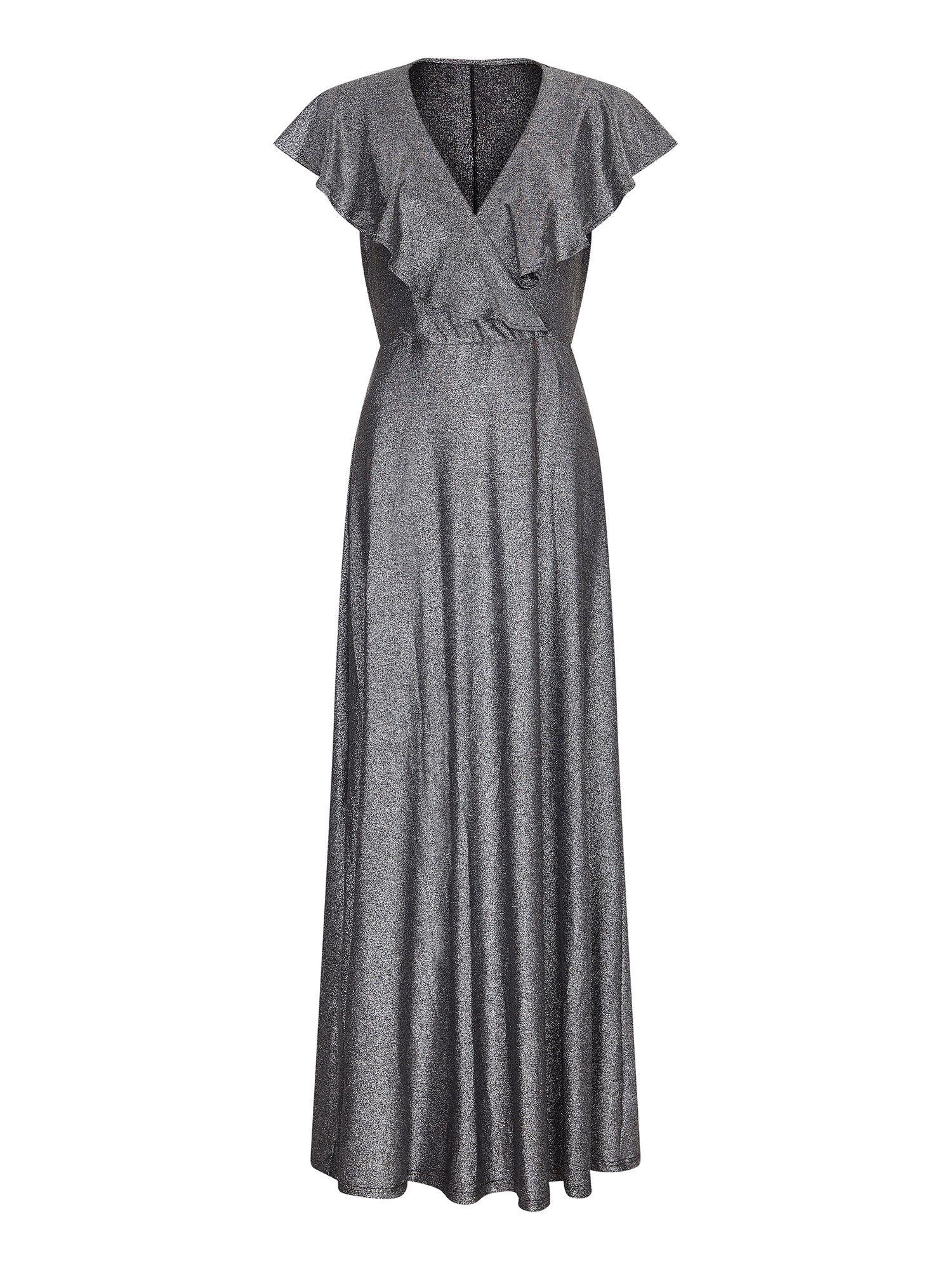 Ruffle Neck Silver Maxi Dress
