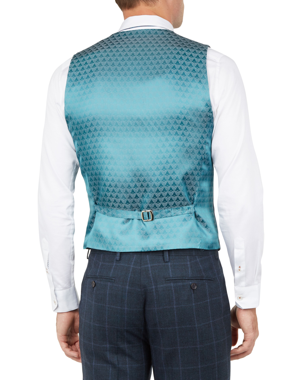 Ted Baker Afanaw Debonair Check Waistcoat, Teal Blue