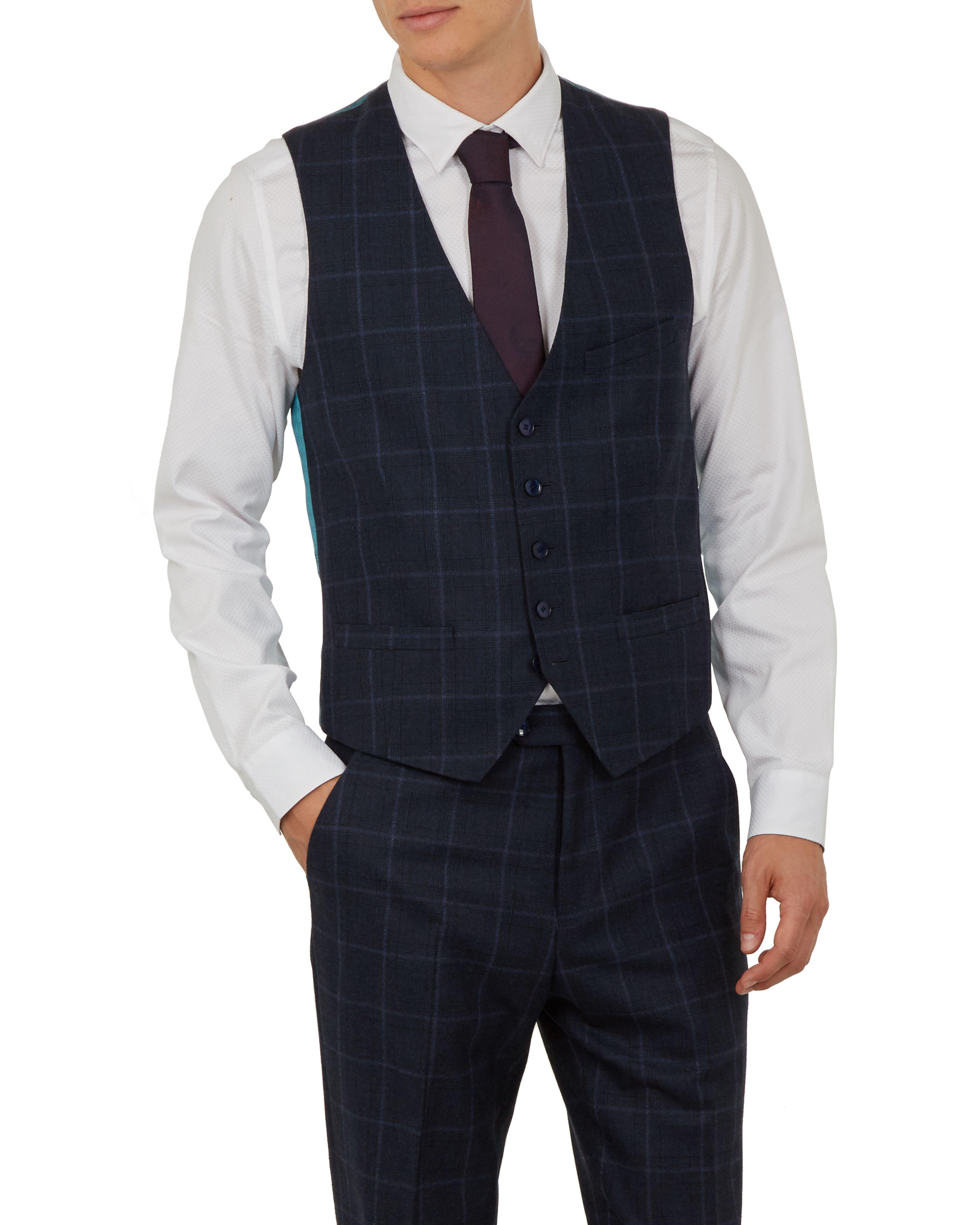 Ted Baker Afanw Debonair Check Waistcoat, Navy