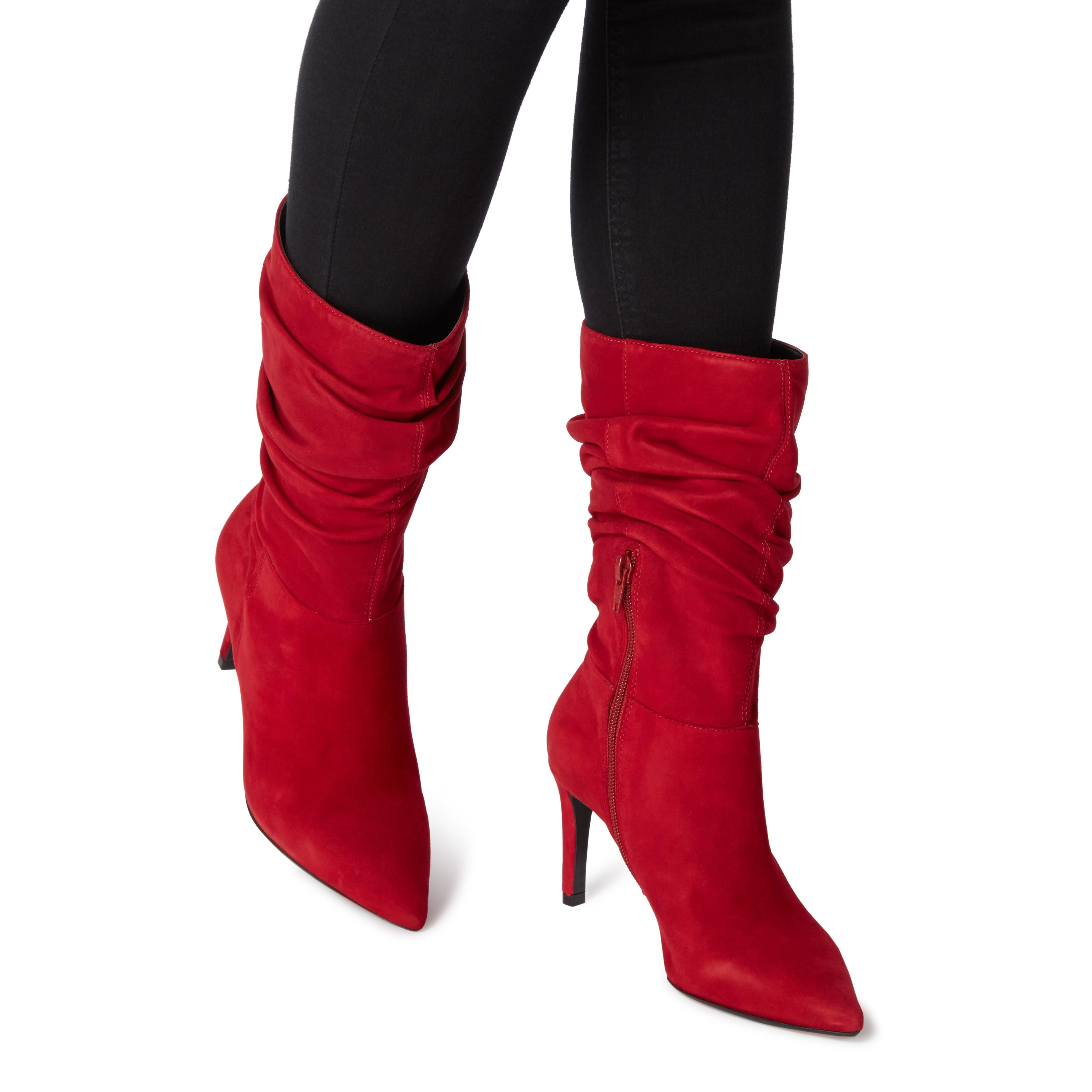 Dune Ladies REENIE Point Toe Ruched Calf Boots